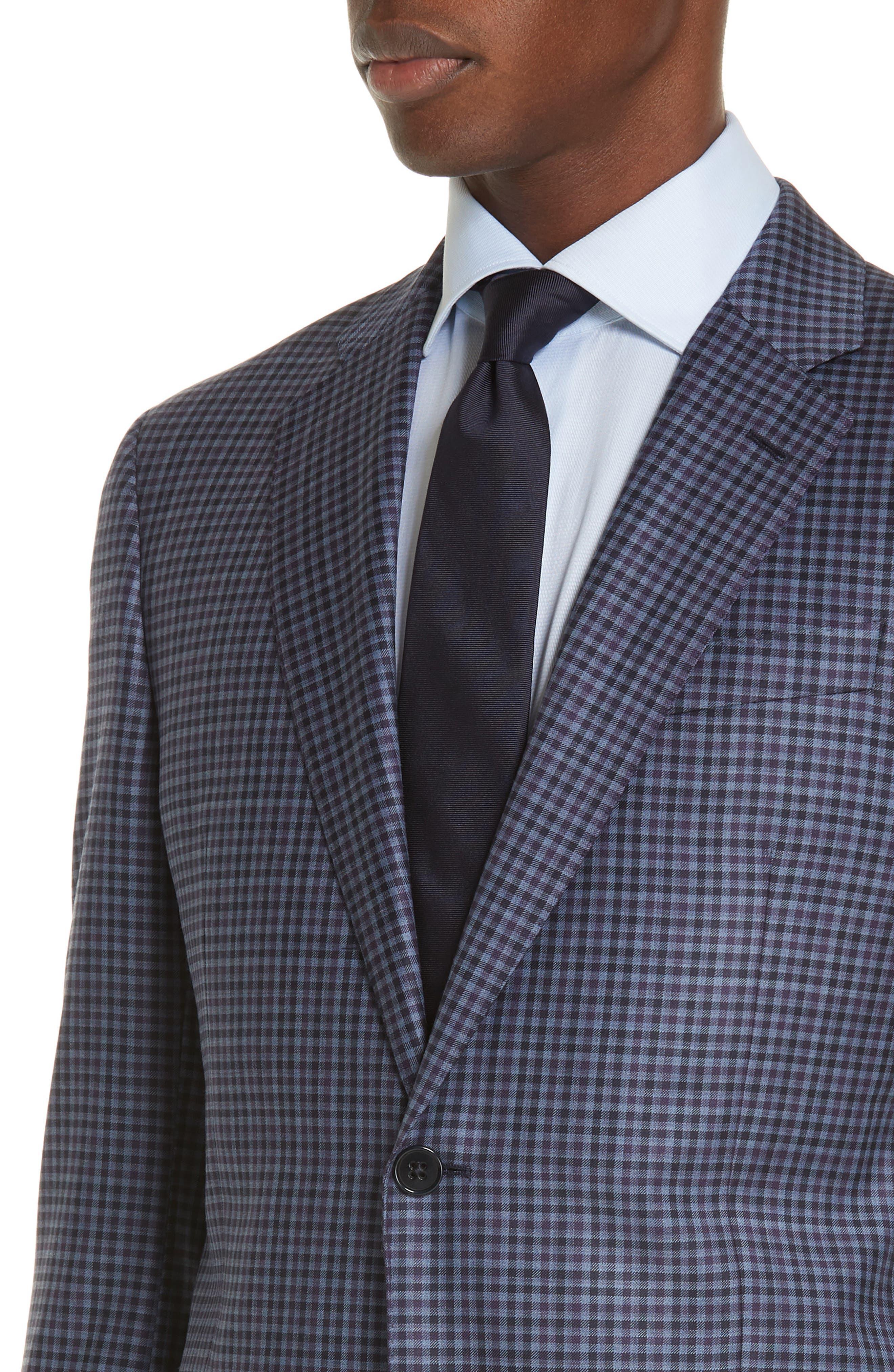 G Line Trim Fit Check Wool Sport Coat,                             Alternate thumbnail 4, color,                             PURPLE