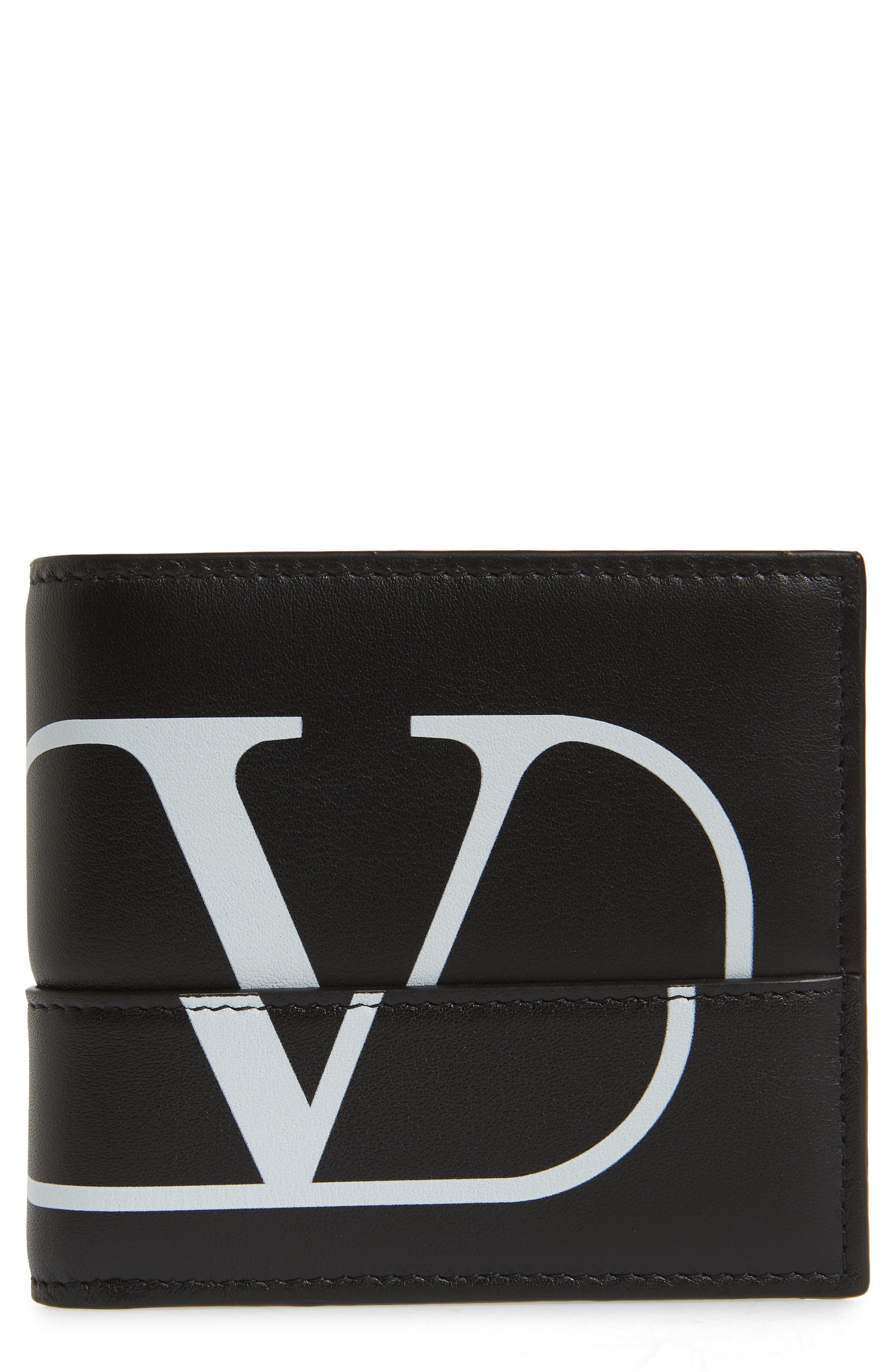 GARAVANI V-Logo Leather Wallet, Main, color, BLACK WHITE