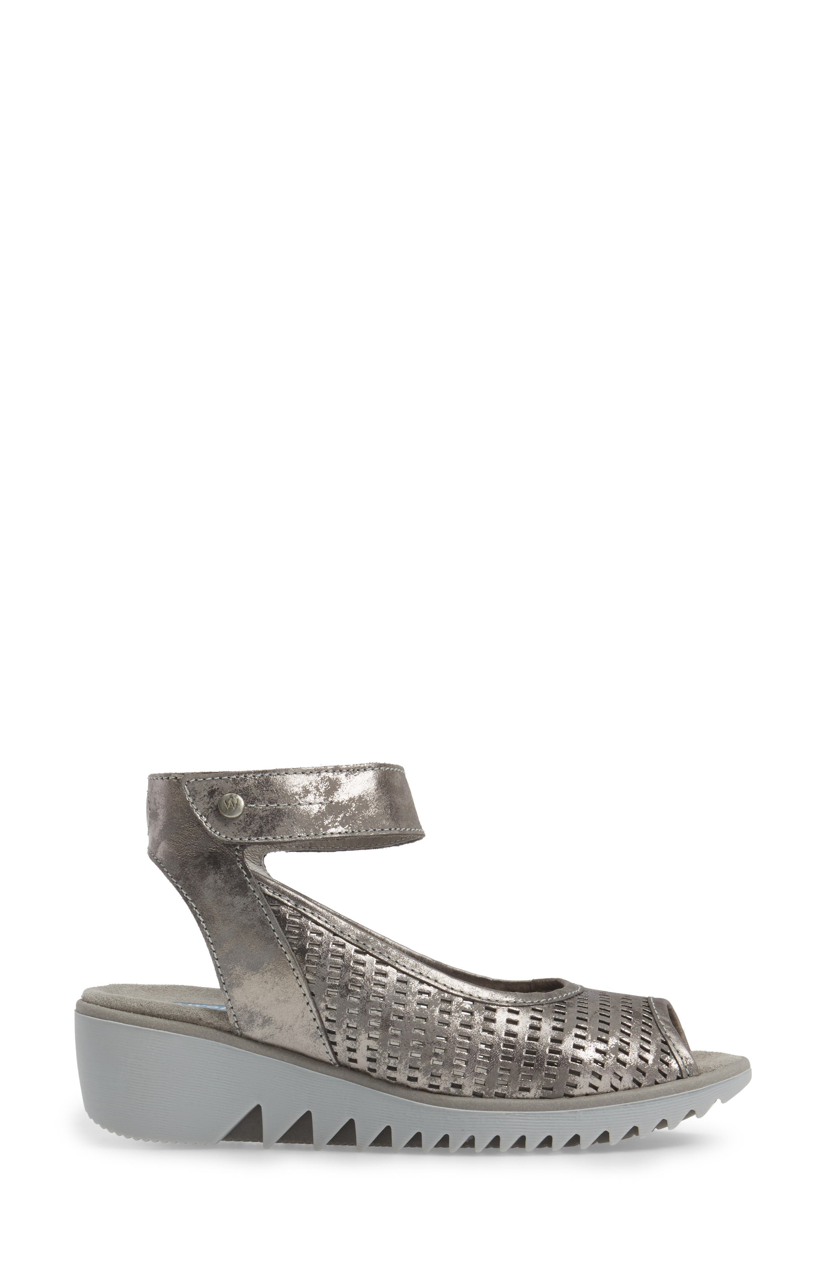 Frosty Ankle Strap Wedge Sandal,                             Alternate thumbnail 6, color,