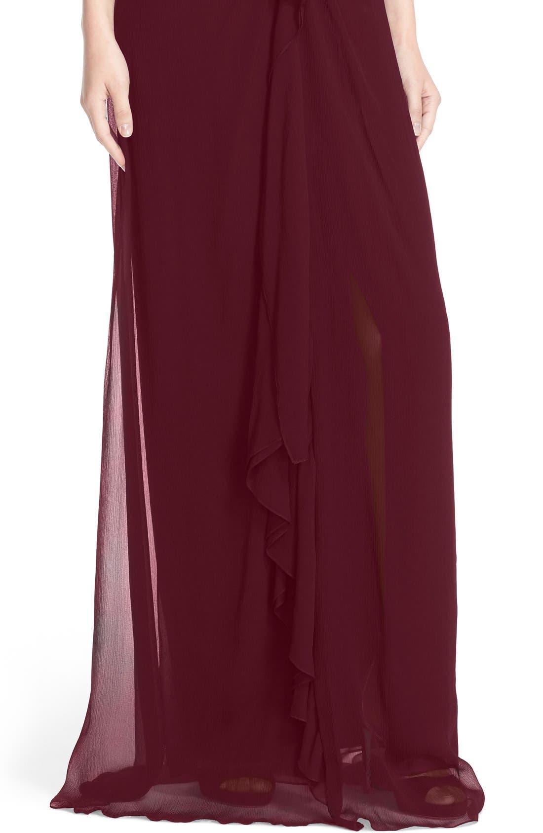Ruffle Detail Silk Chiffon V-Neck Gown,                             Alternate thumbnail 10, color,