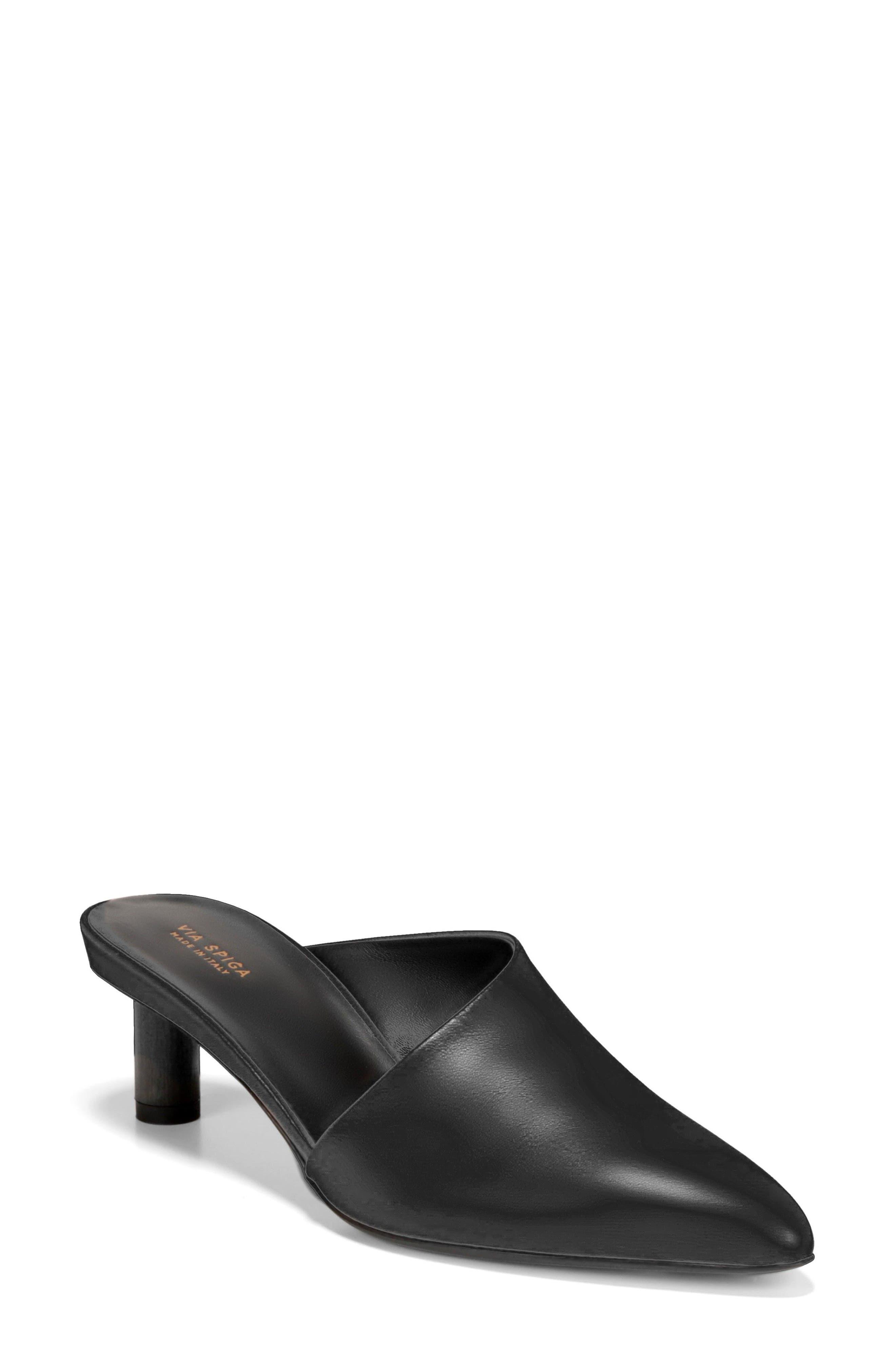 Freya Asymmetrical Mule,                         Main,                         color, BLACK LEATHER