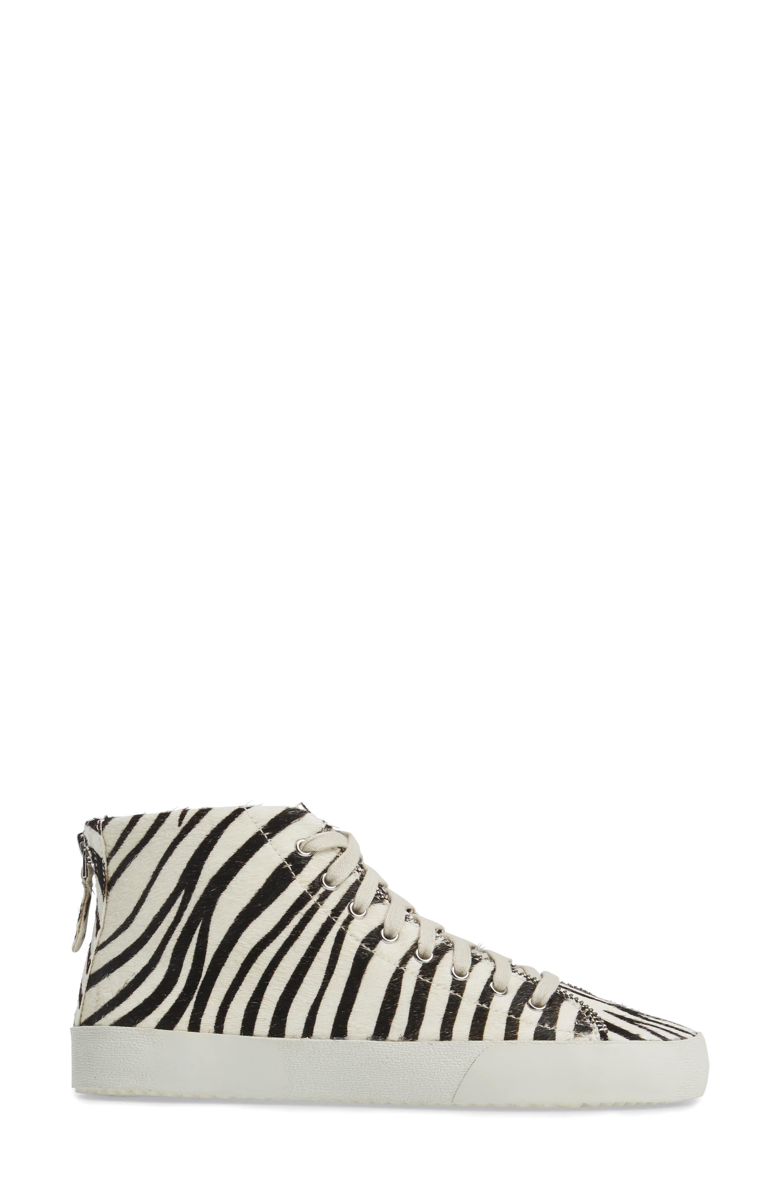 Zaina Too Genuine Calf Hair Sneaker,                             Alternate thumbnail 3, color,                             100
