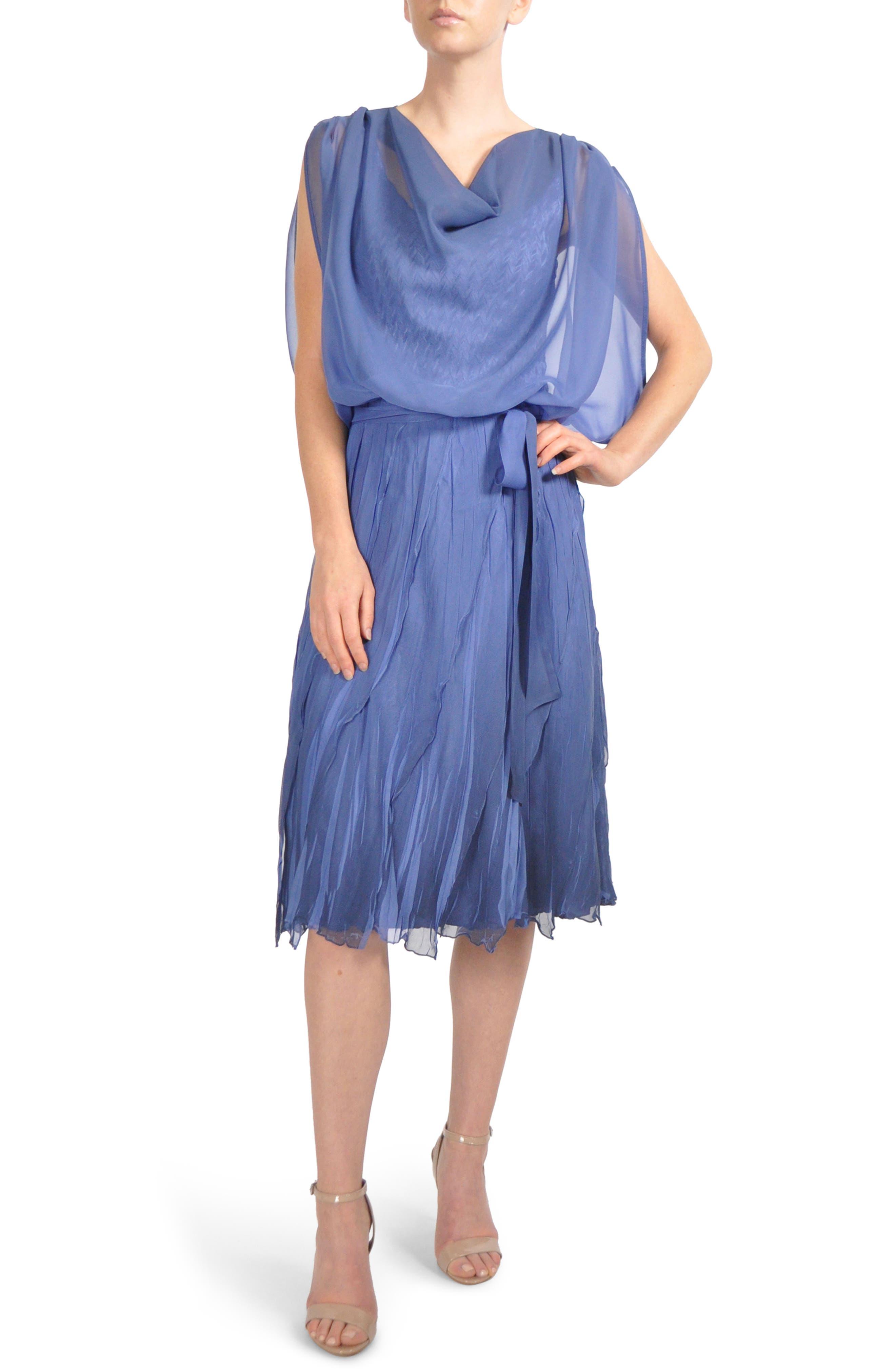 Charmeuse & Chiffon Blouson Dress,                         Main,                         color, 420