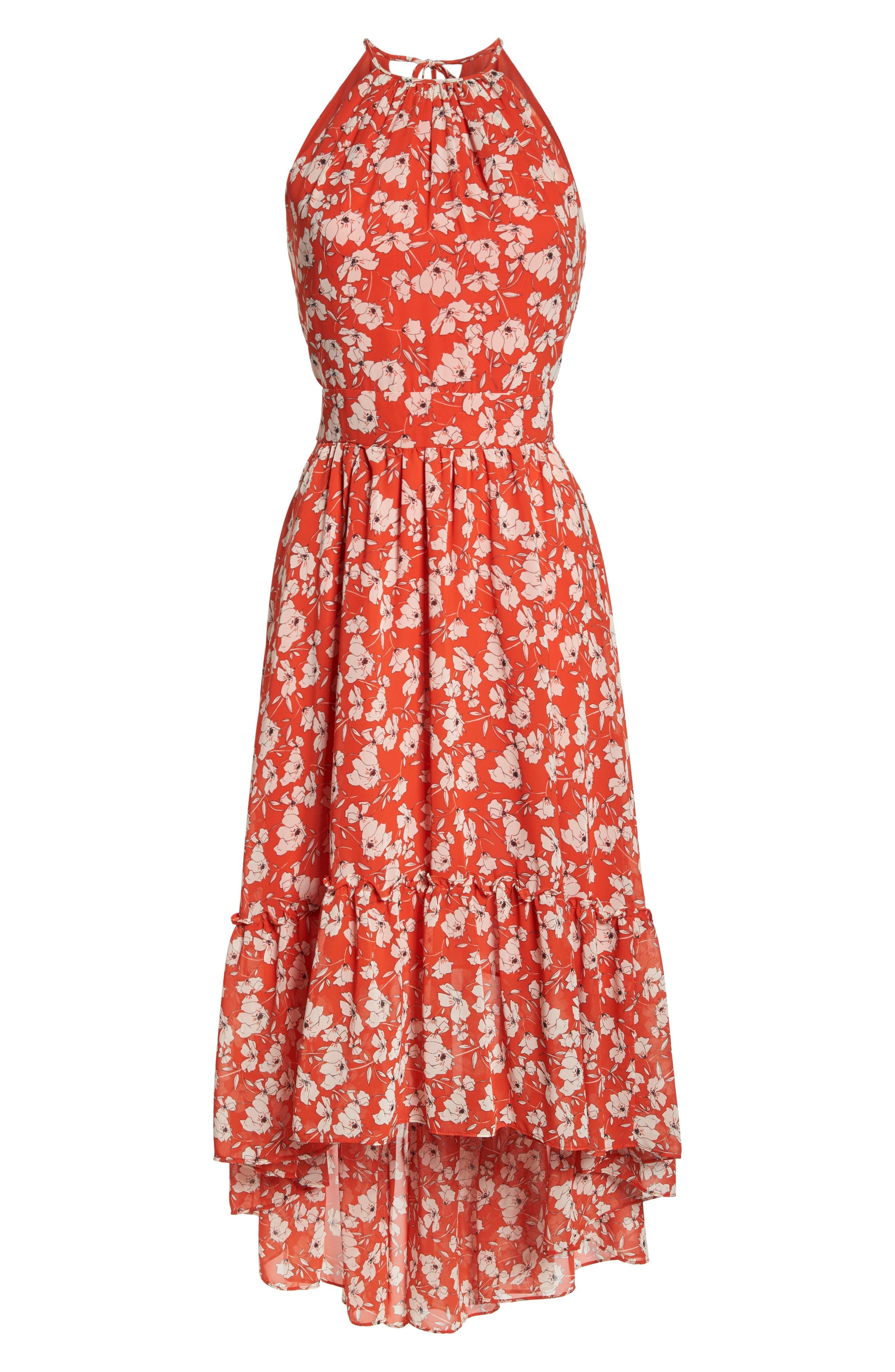 Ruffle Hem Halter Neck Chiffon Dress,                             Alternate thumbnail 7, color,                             612