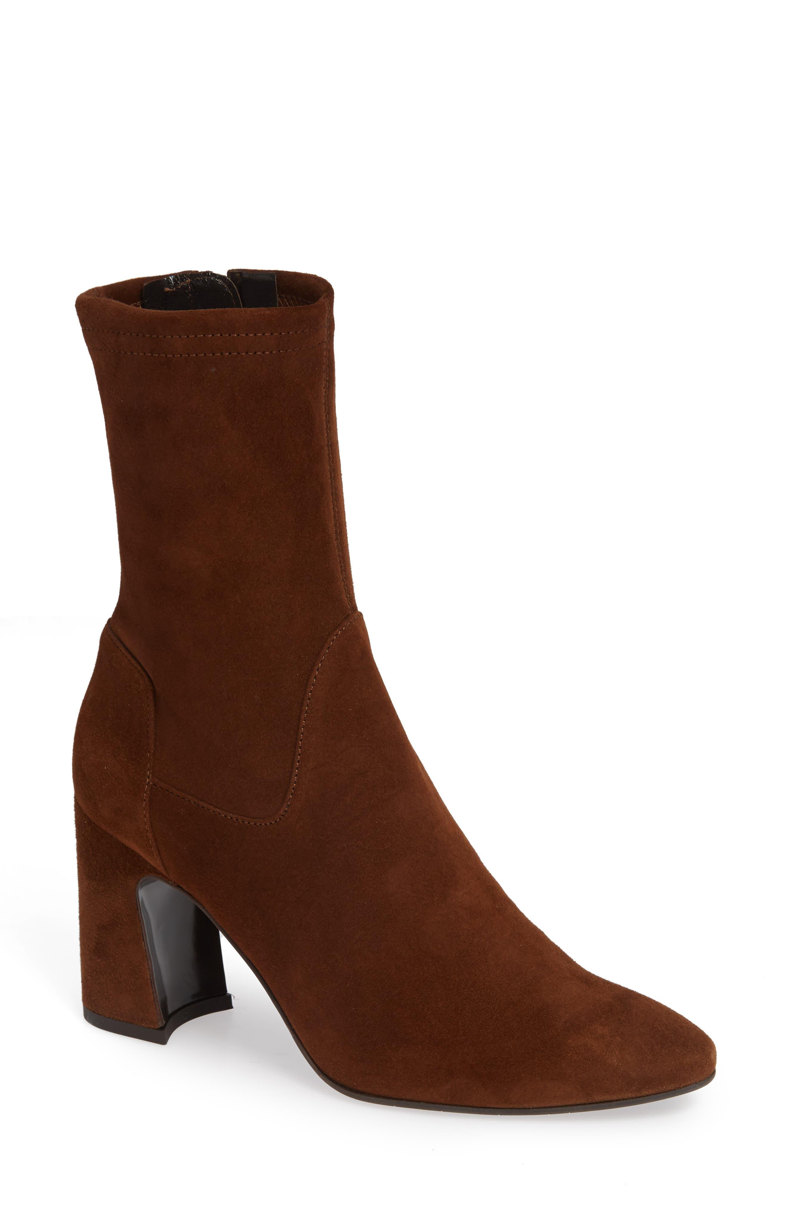 Aquatalia Nastasia Stretch Suede Boot, Brown