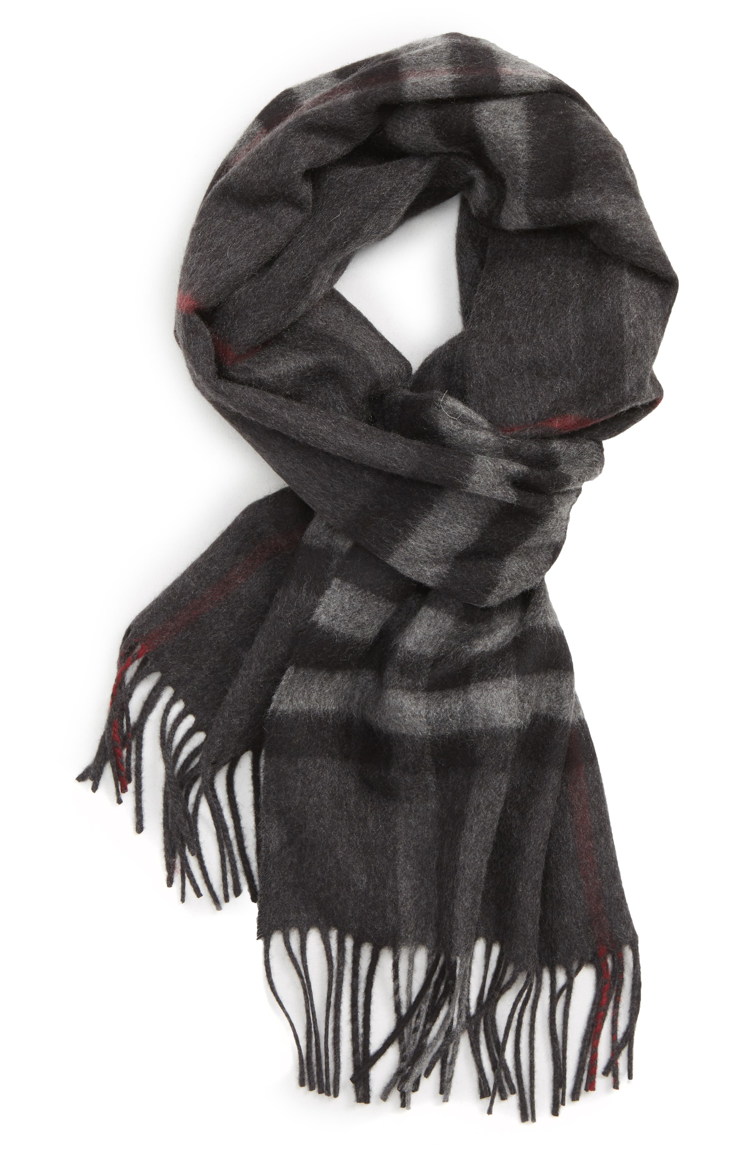 Heritage Check Cashmere Scarf,                             Main thumbnail 1, color,                             027