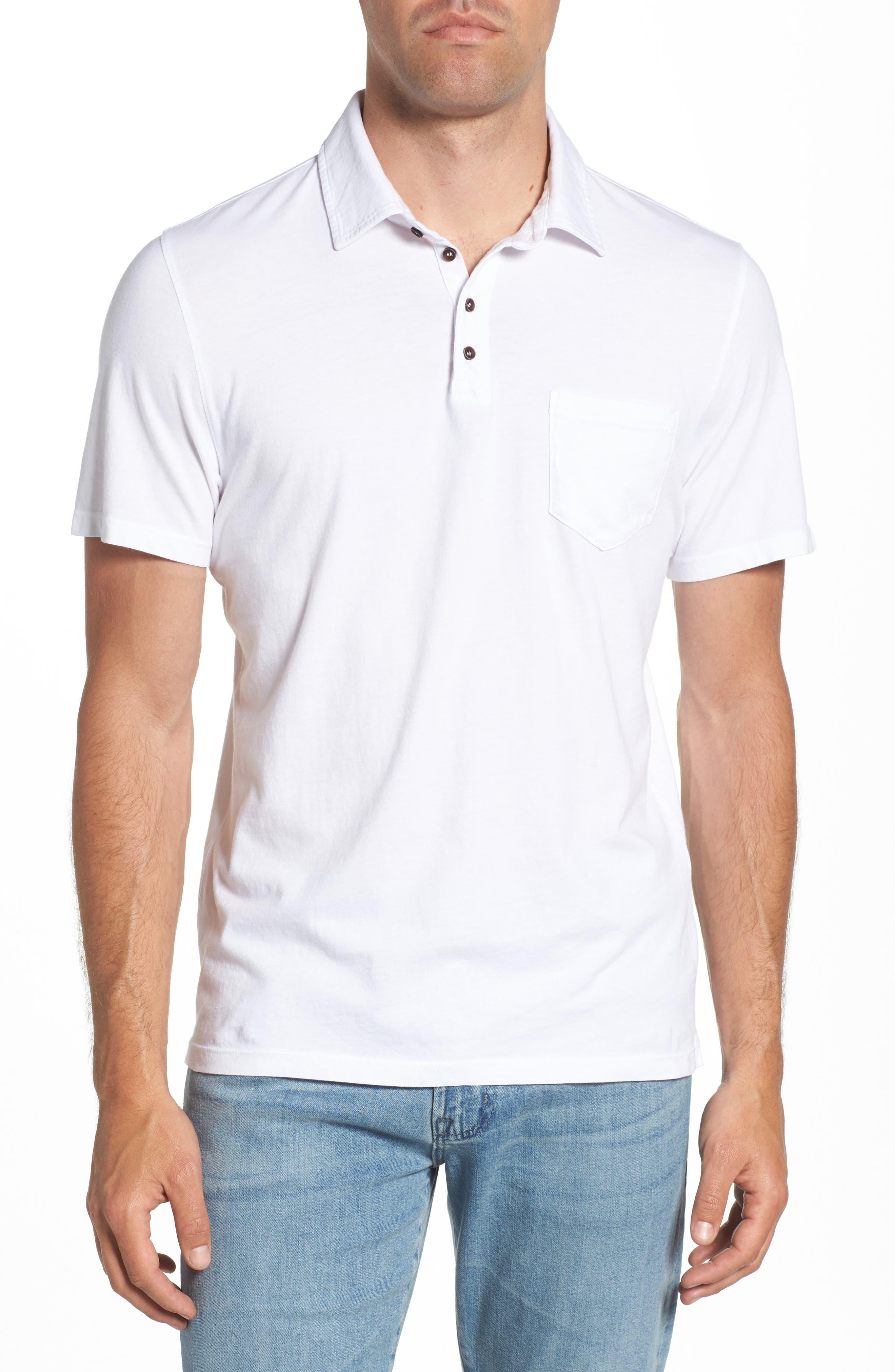 M.SINGER,                             Regular Fit Pocket Polo,                             Main thumbnail 1, color,                             WHITE