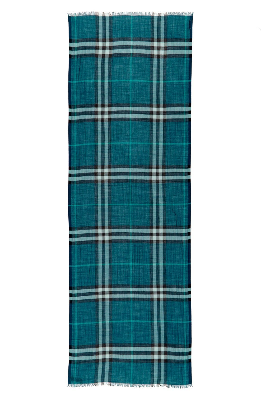 Giant Check Print Wool & Silk Scarf,                             Alternate thumbnail 83, color,