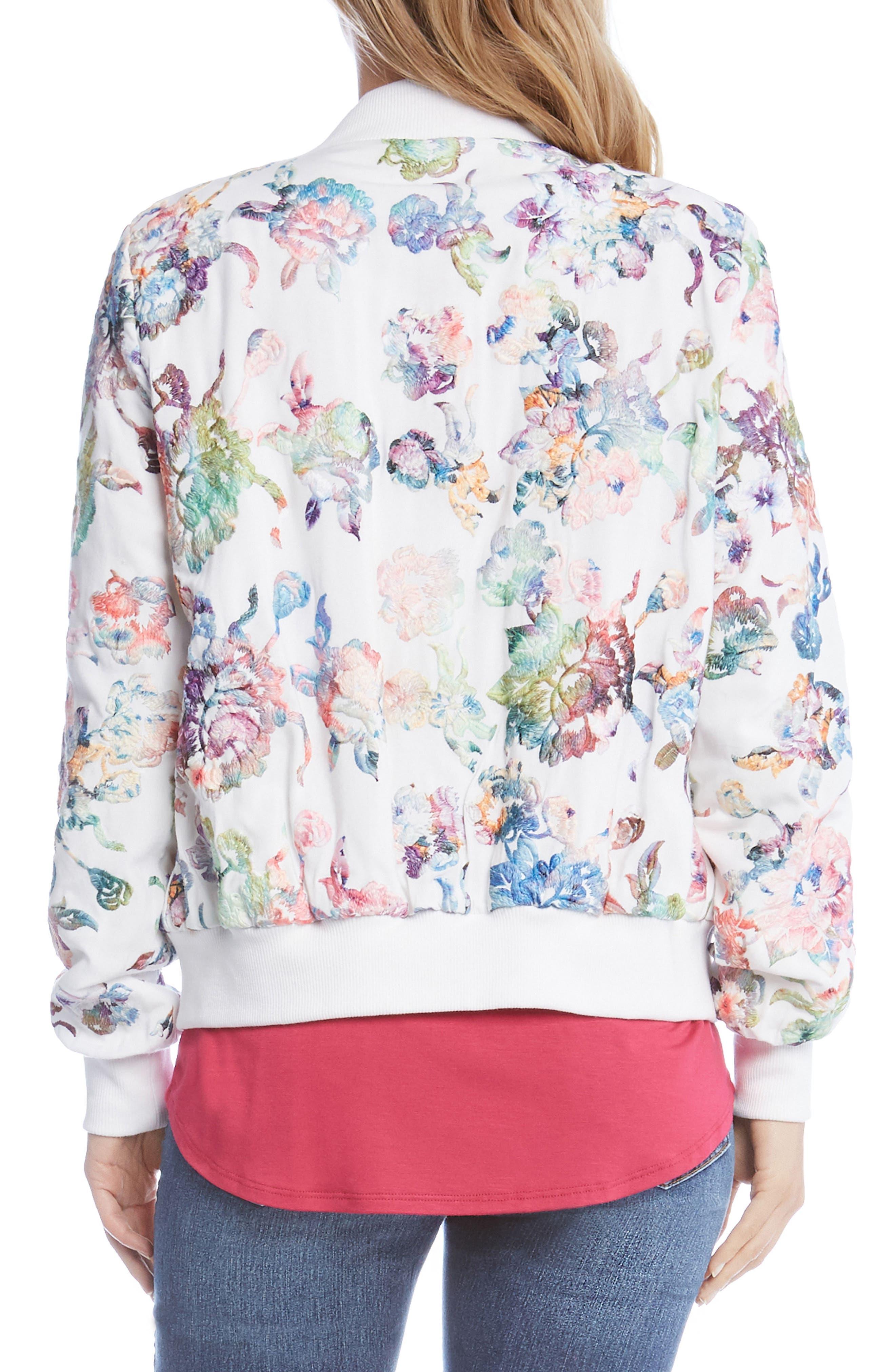 Embroidered Floral Bomber Jacket,                             Alternate thumbnail 2, color,