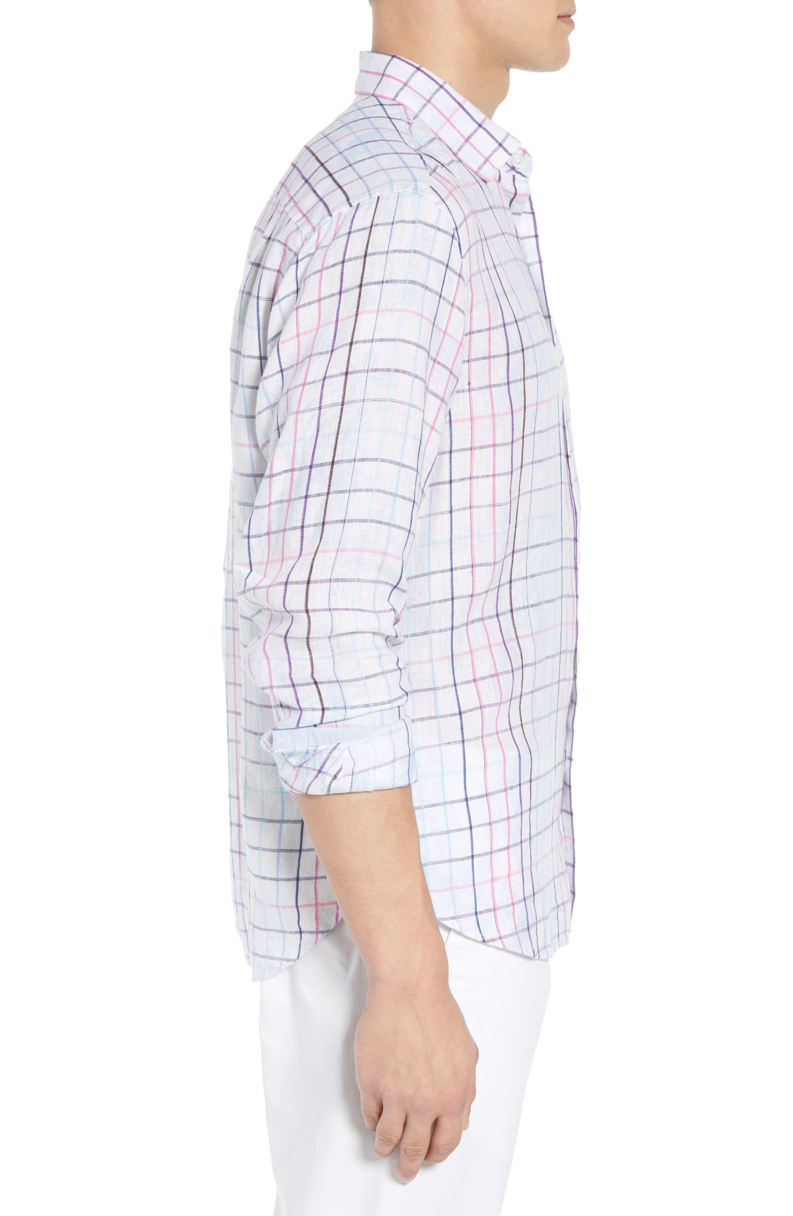 Tulum Terrace Check Linen Sport Shirt,                             Alternate thumbnail 3, color,                             BOWTIE BLUE