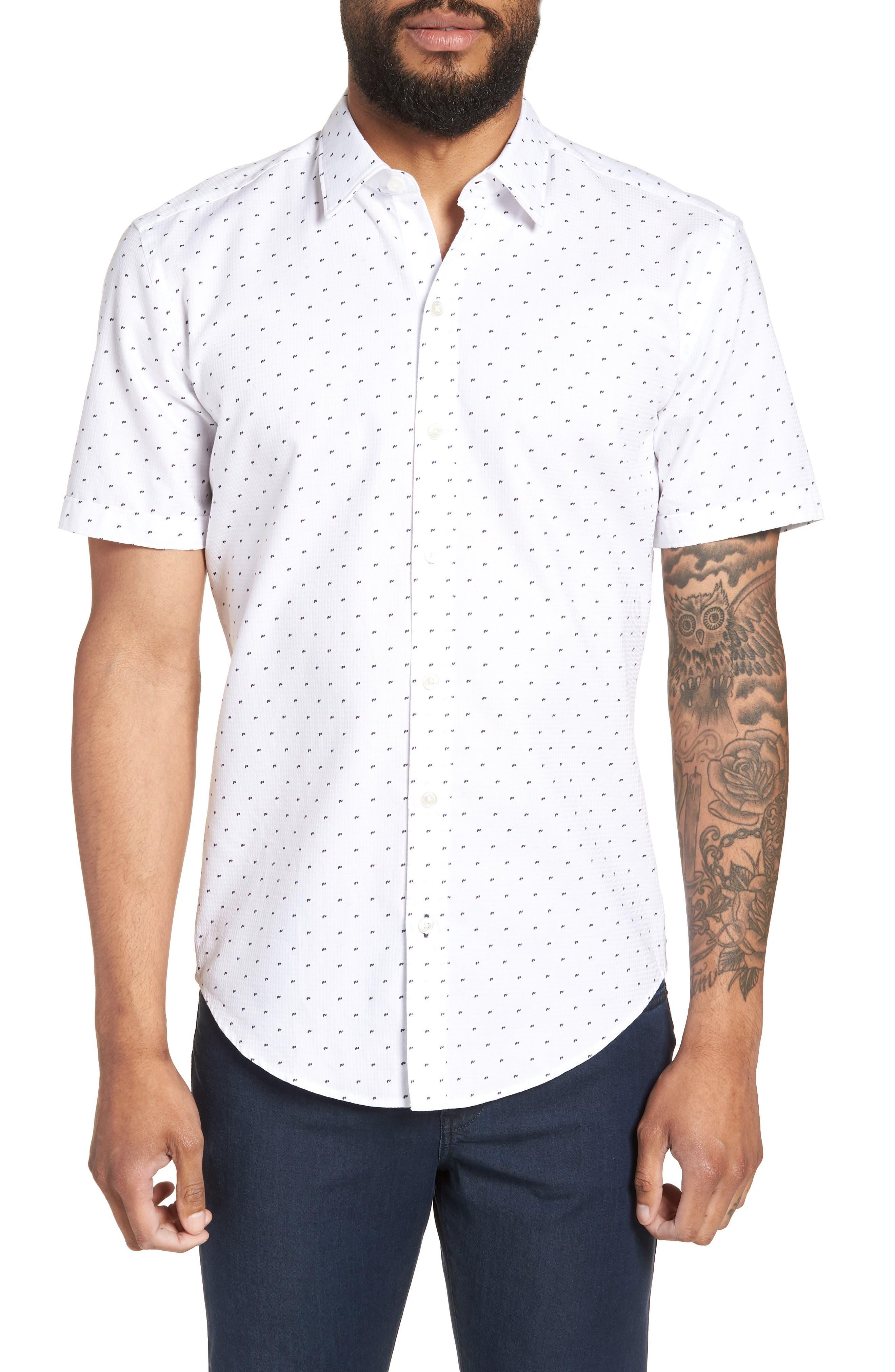 Extra Trim Fit Dobby Sport Shirt,                         Main,                         color, 100