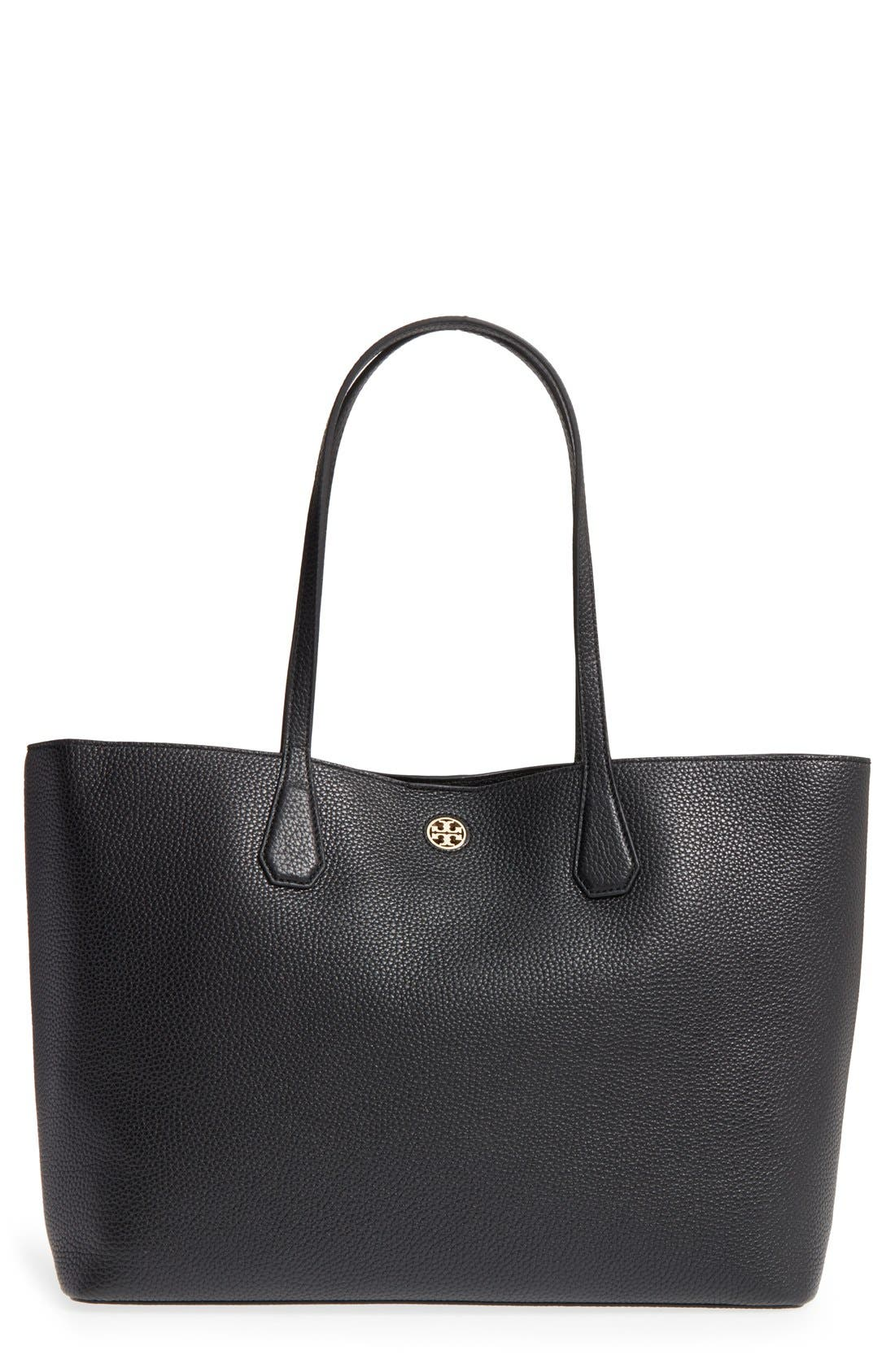 'Perry' Leather Tote, Main, color, 002