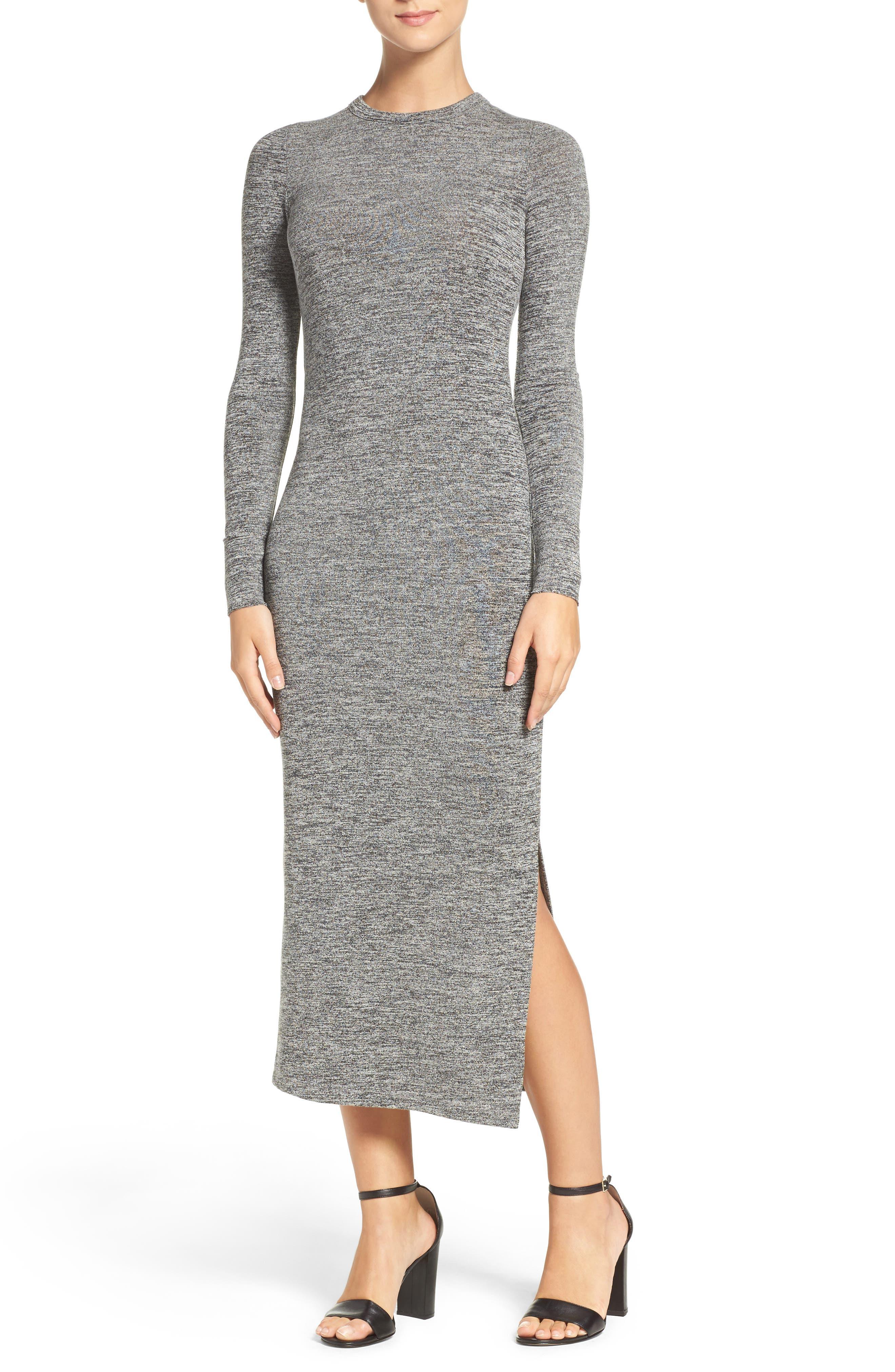 Sweater Maxi Dress,                         Main,                         color, LIGHT GREY
