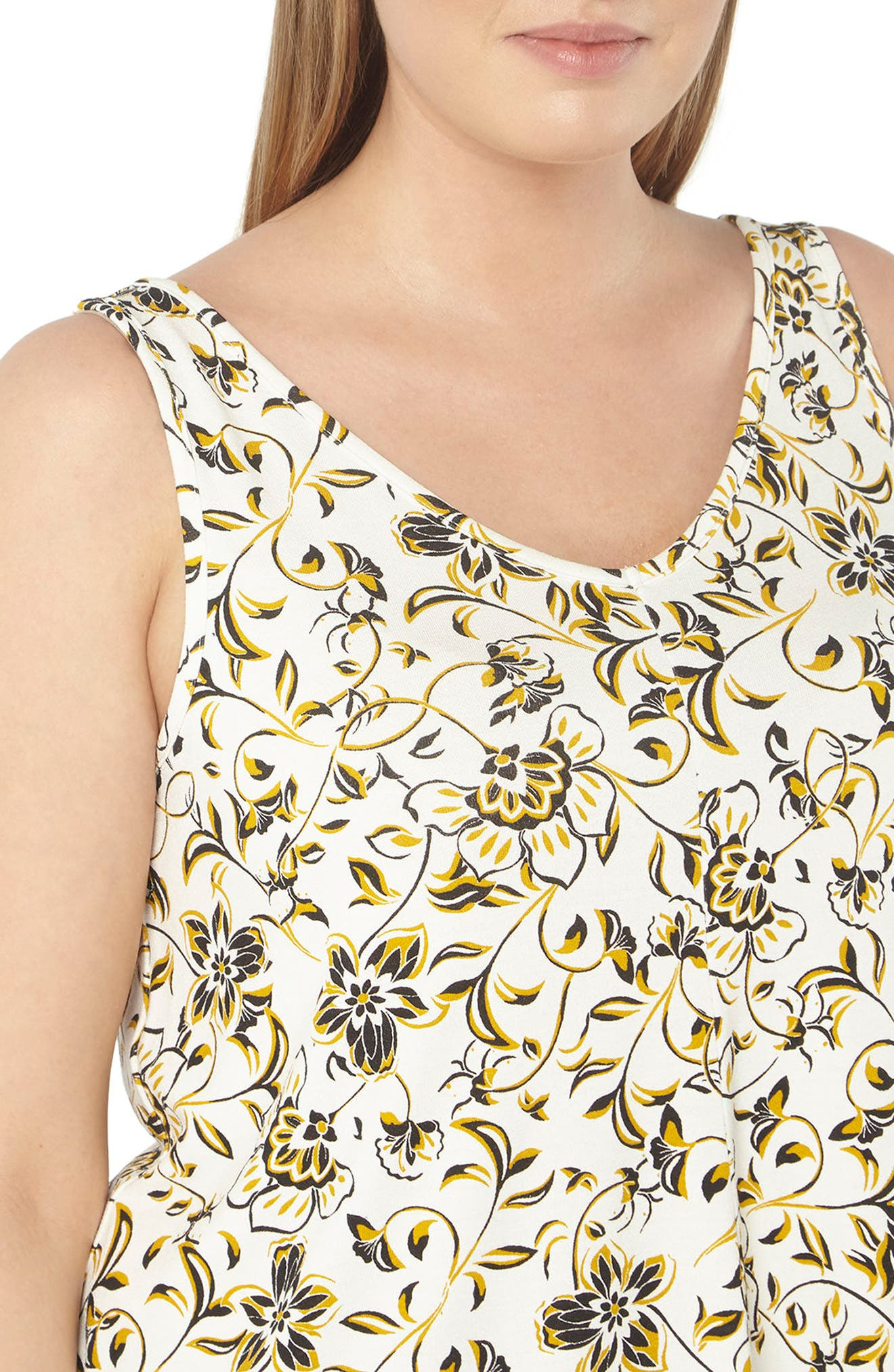 Floral Print Jersey Tank,                             Alternate thumbnail 3, color,                             110