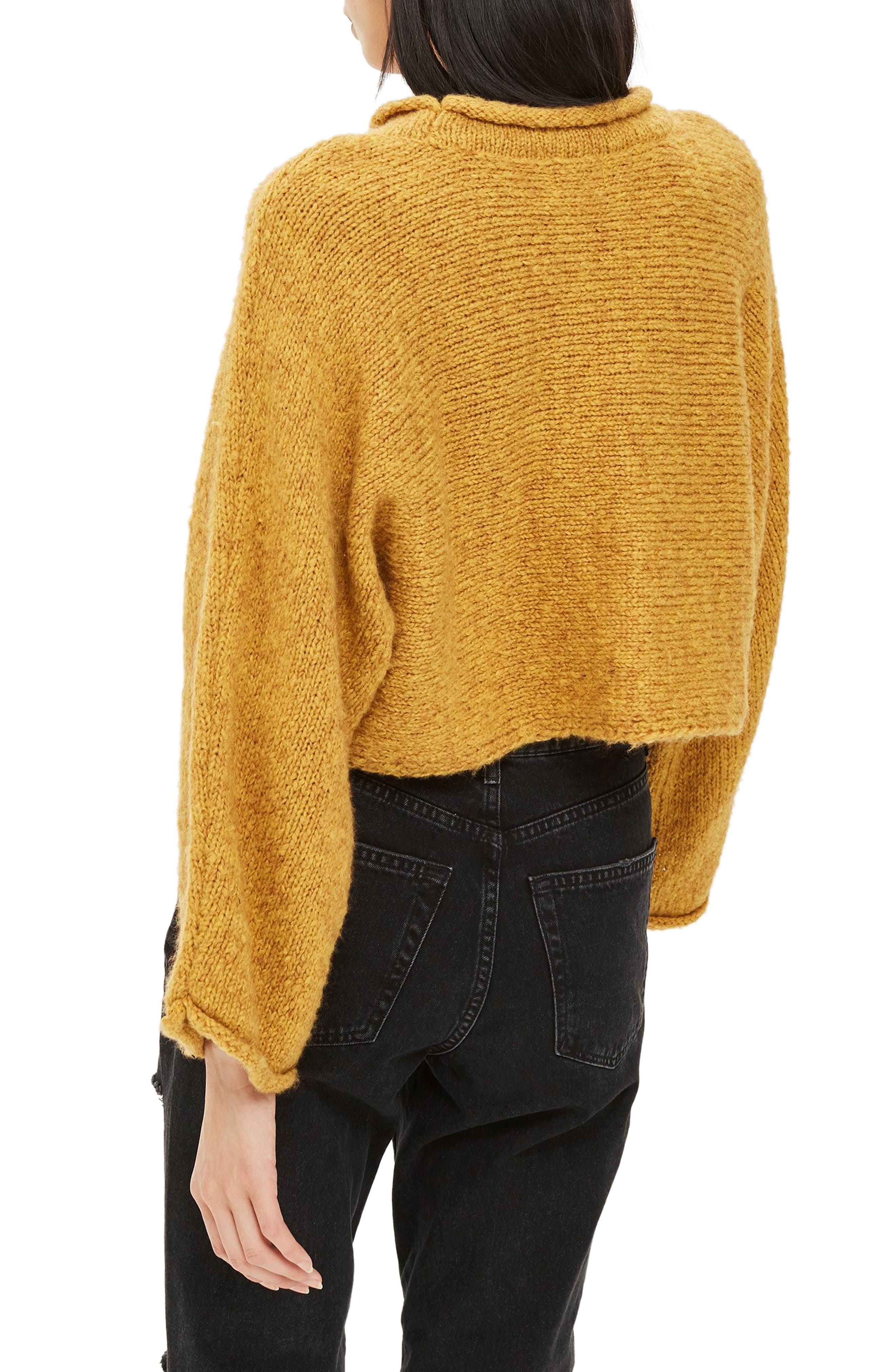 Punk Roll Neck Crop Sweater,                             Alternate thumbnail 2, color,                             MUSTARD