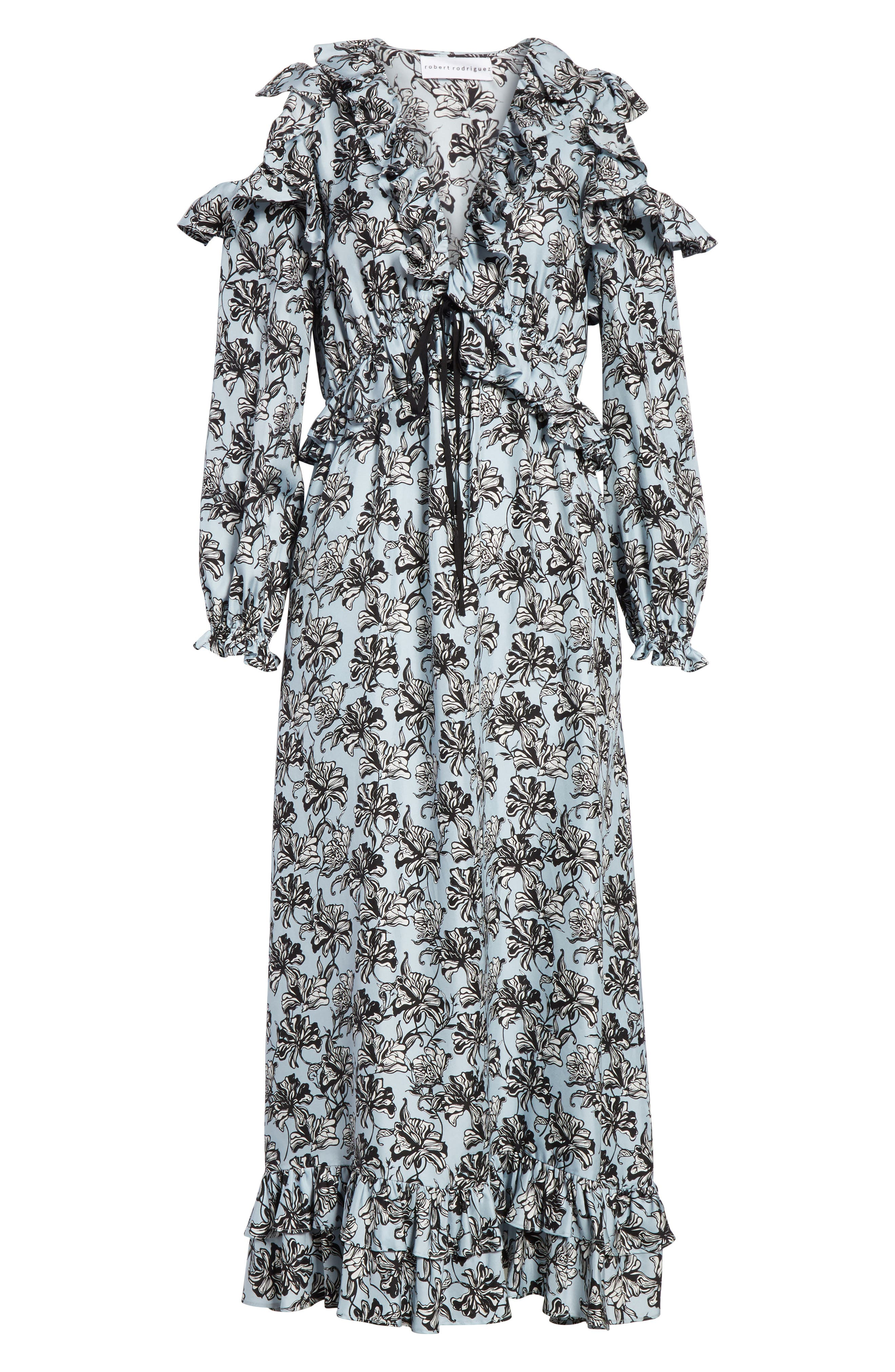Ruffle Trim Cold Shoulder Silk Dress,                             Alternate thumbnail 6, color,                             420