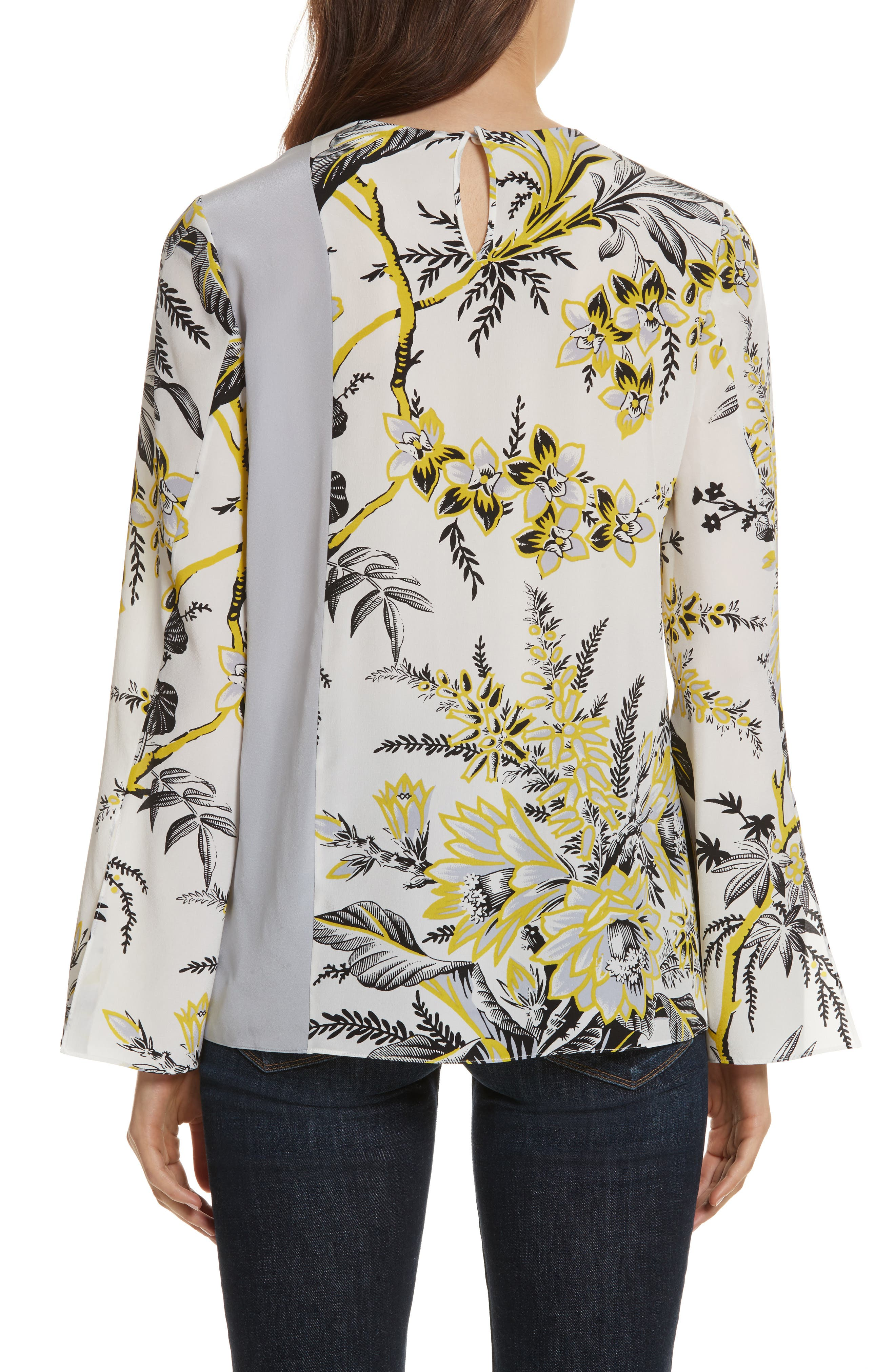 Diane von Furstenberg Side Slit Silk Blouse,                             Alternate thumbnail 3, color,