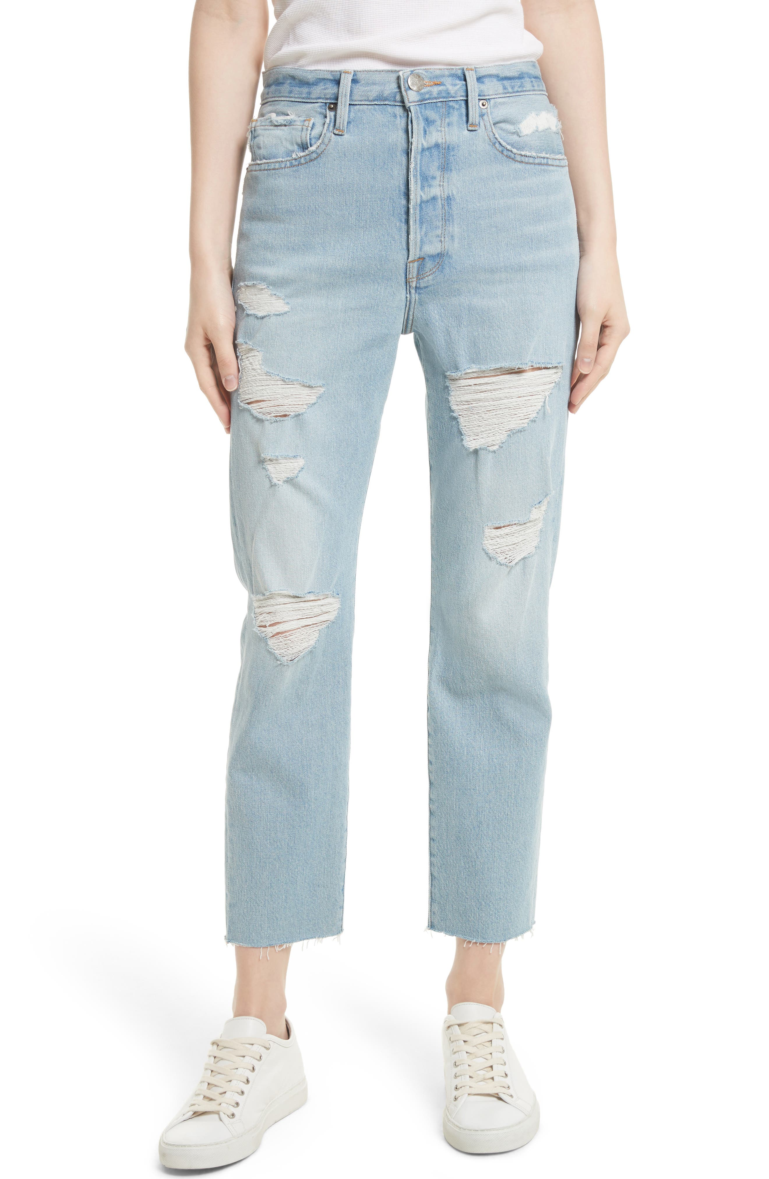 Le Original Raw Edge High Waist Jeans,                             Main thumbnail 1, color,                             450