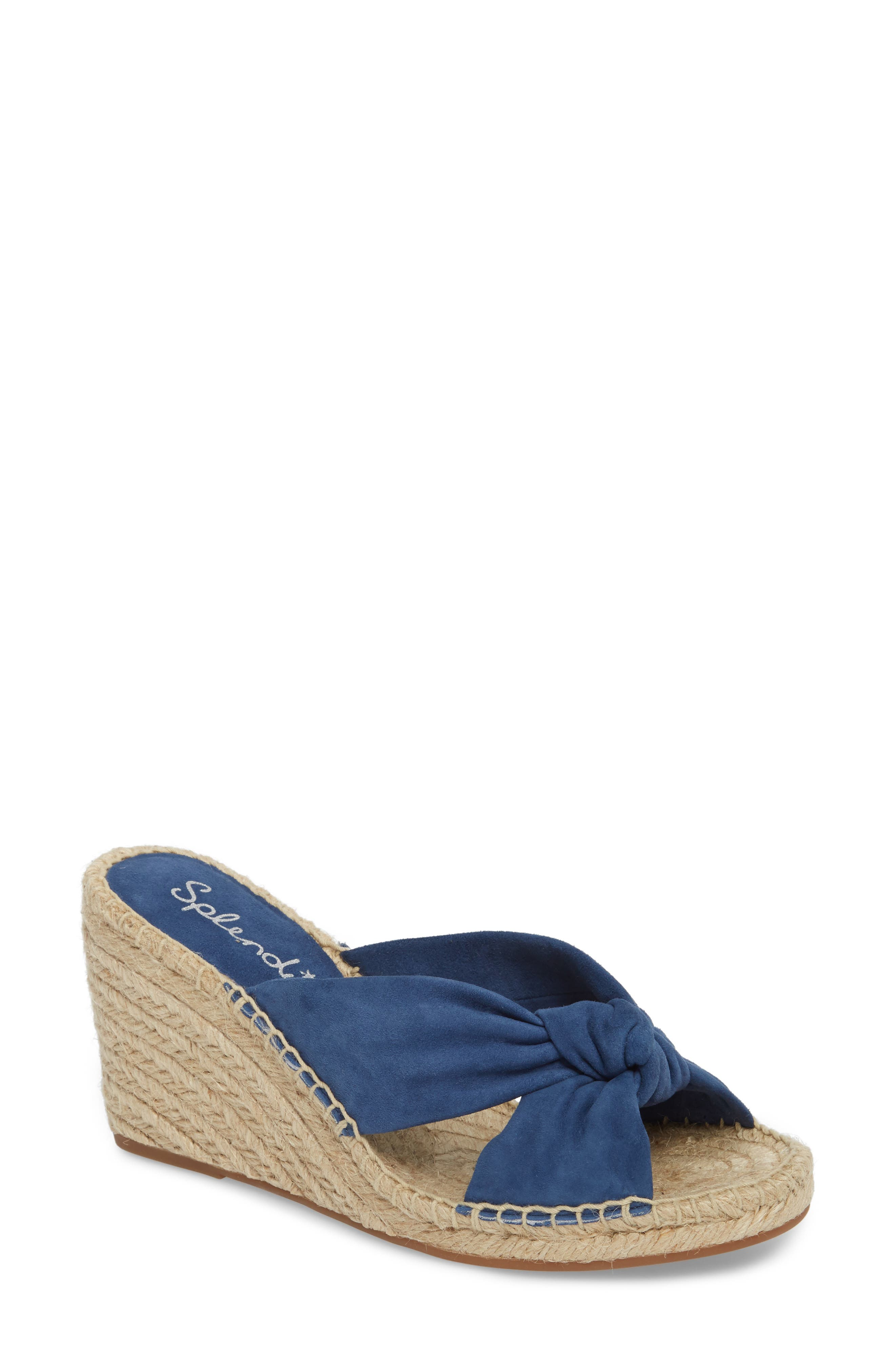 Bautista Knotted Wedge Sandal,                             Main thumbnail 1, color,                             DENIM FABRIC