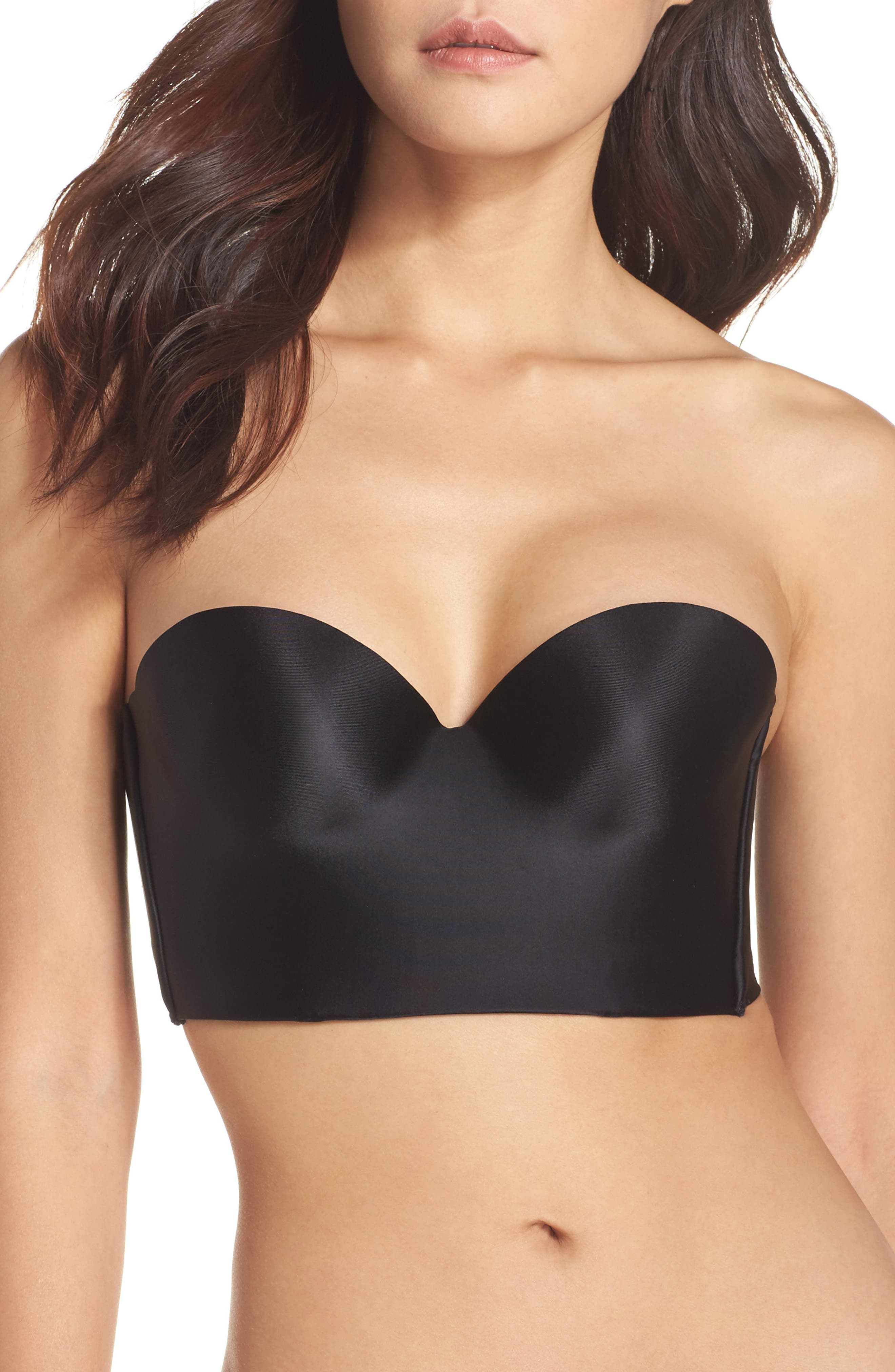 Essentials Convertible Underwire Longline Push-Up Bra,                             Alternate thumbnail 2, color,                             BLACK