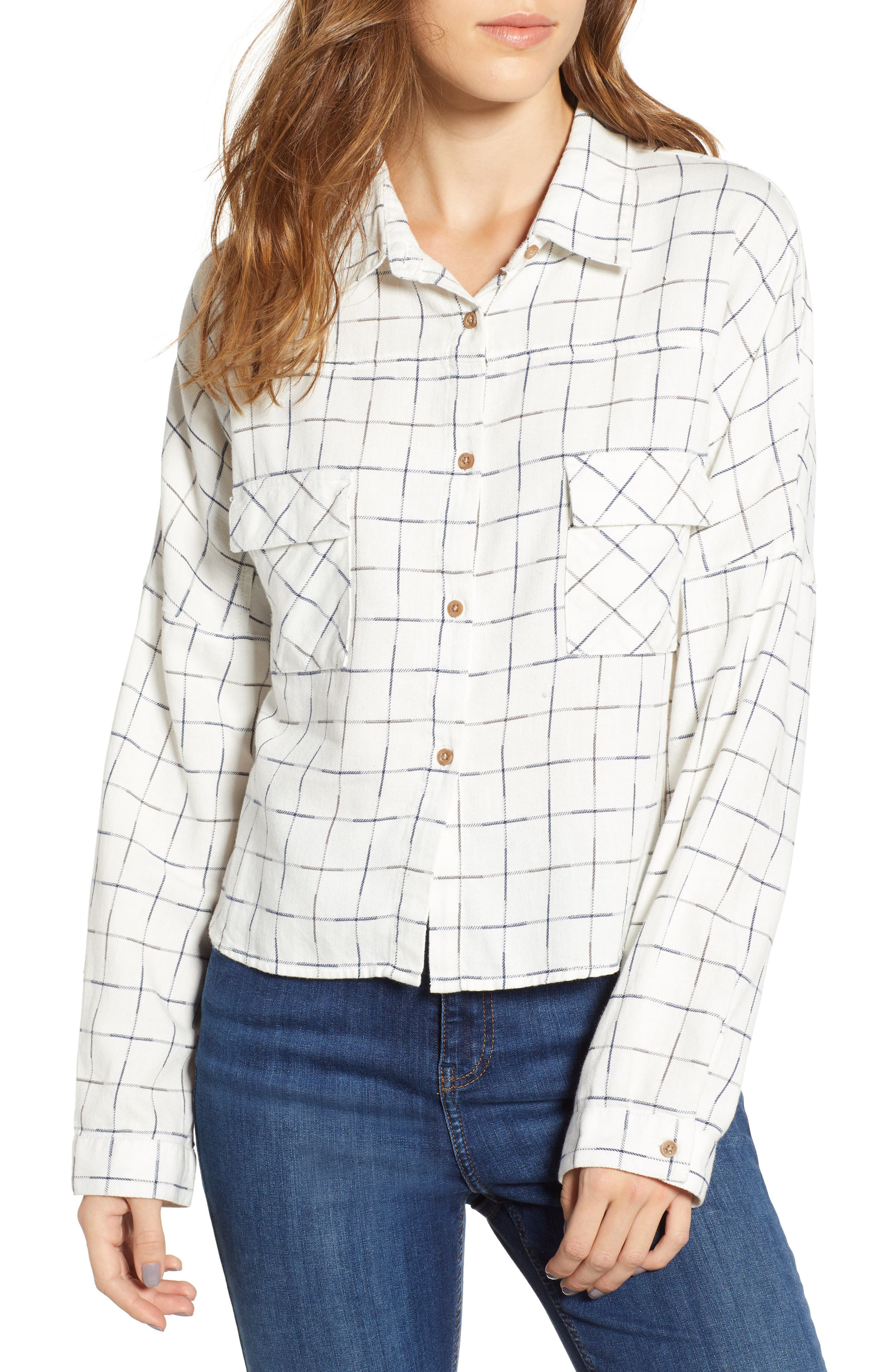 Check Flannel Shirt,                         Main,                         color, NAVY/ WHITE GRID