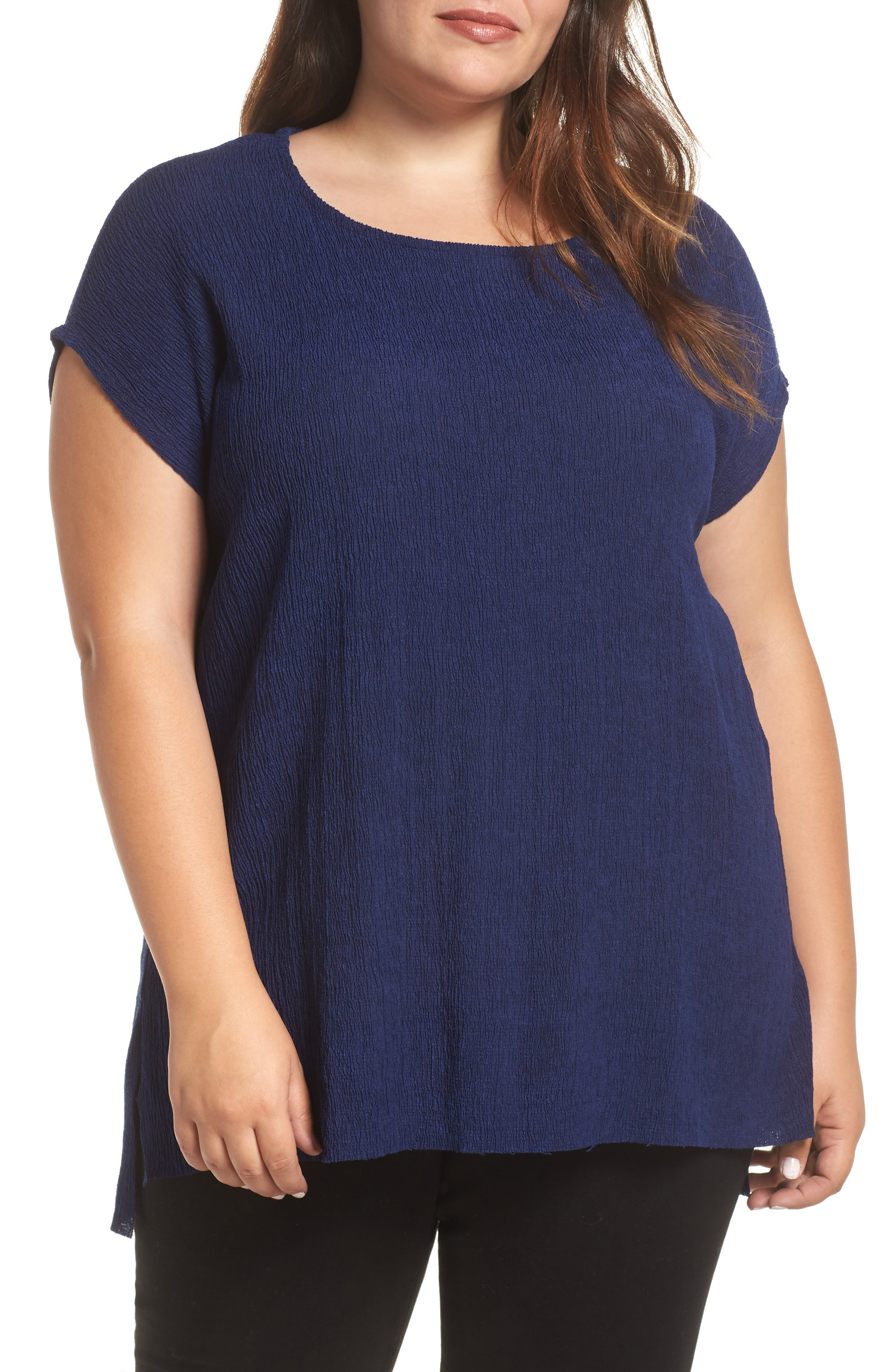 High/Low Crinkle Top, Main, color, NAVY