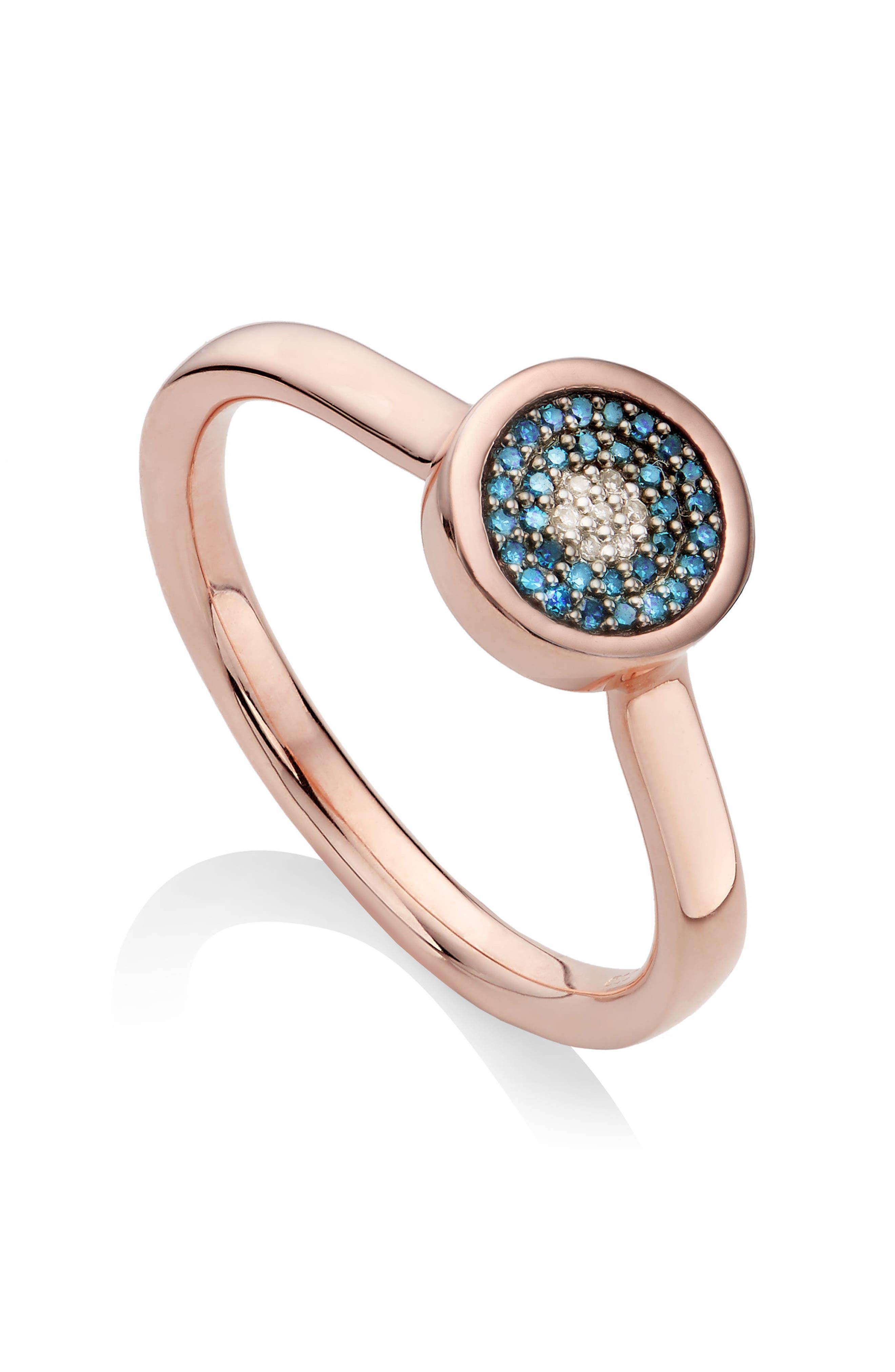 Evil Eye Diamond Ring,                             Alternate thumbnail 3, color,                             ROSE GOLD/ BLUE DIAMOND