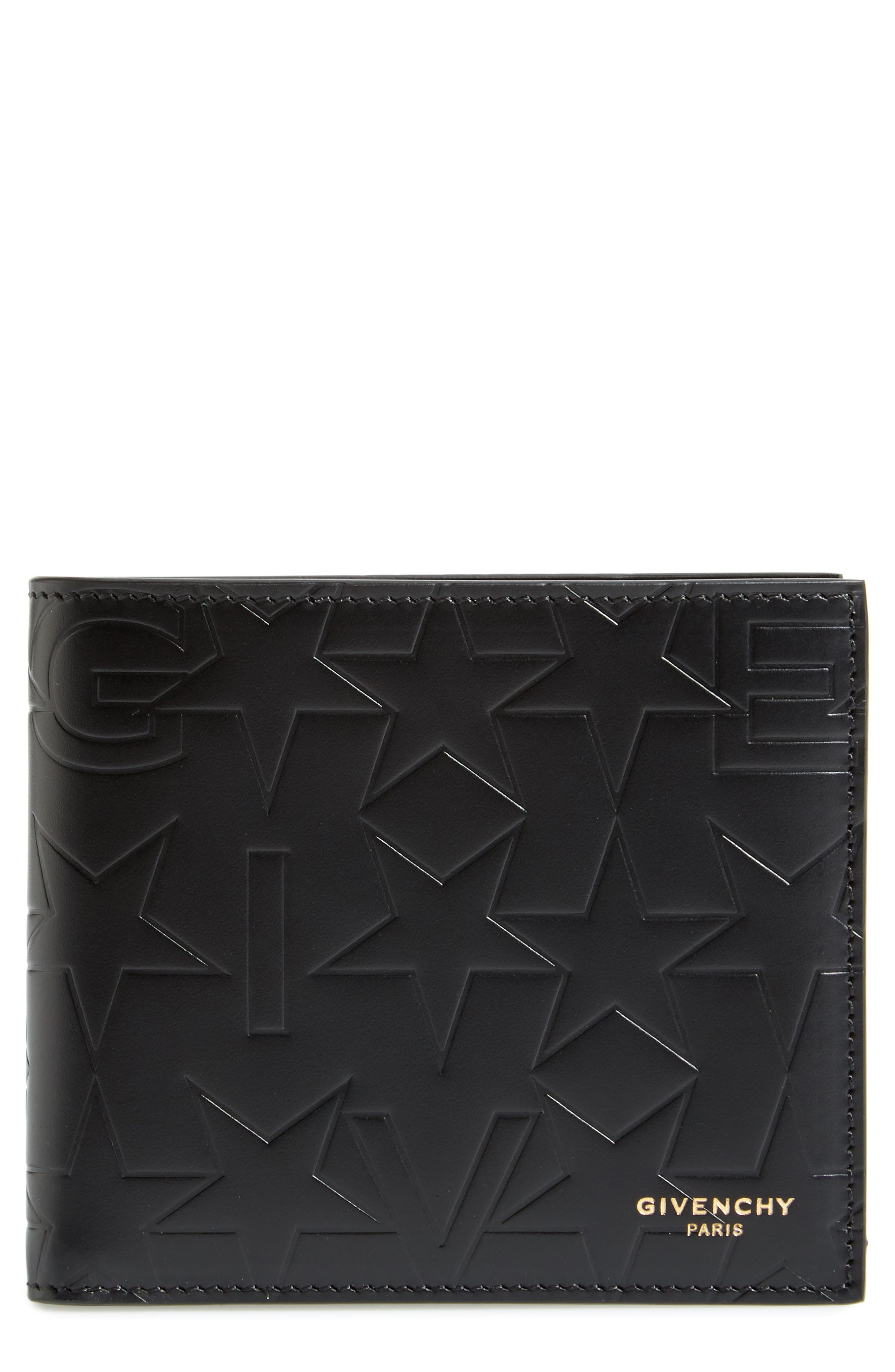 Leather Billfold Wallet,                         Main,                         color, 001