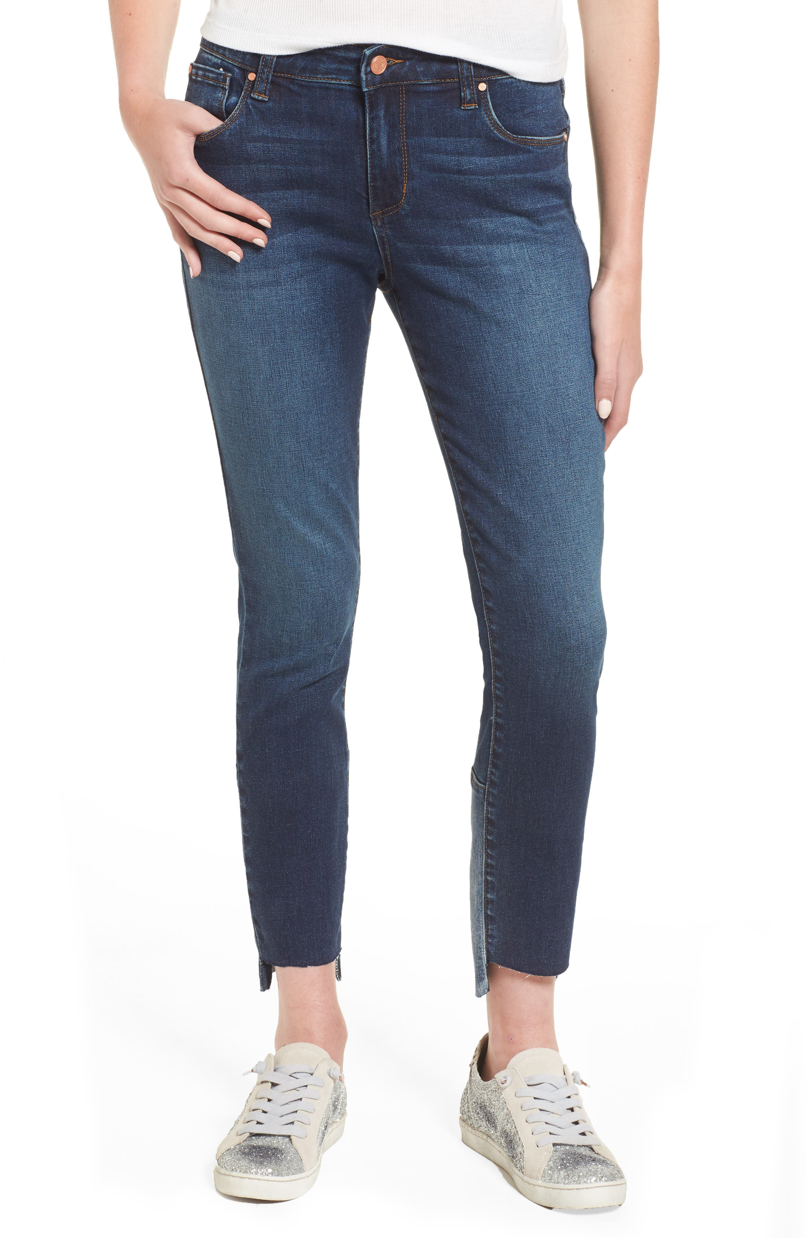 Patch Detail Step Hem Skinny Jeans,                             Main thumbnail 1, color,                             420