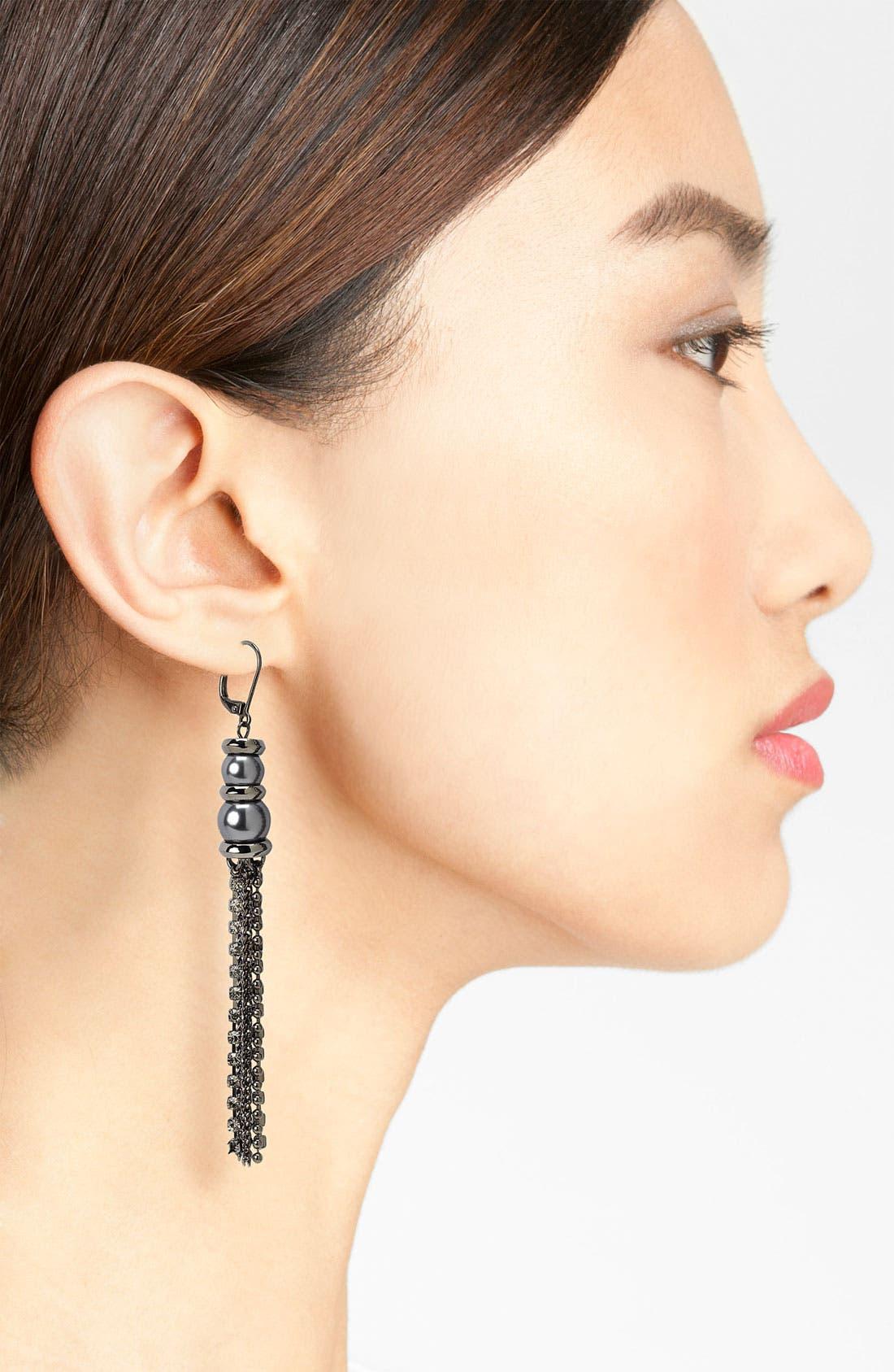 Glass Pearl & Chain Tassel Earrings,                             Alternate thumbnail 2, color,                             020