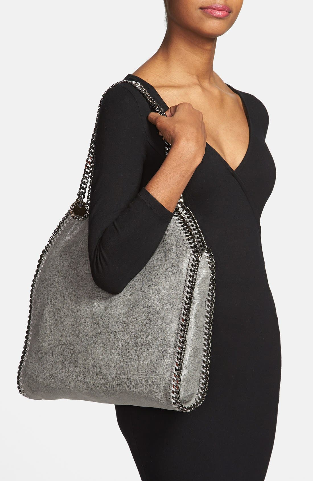 'Small Falabella - Shaggy Deer' Faux Leather Tote,                             Alternate thumbnail 3, color,                             LT.GREY