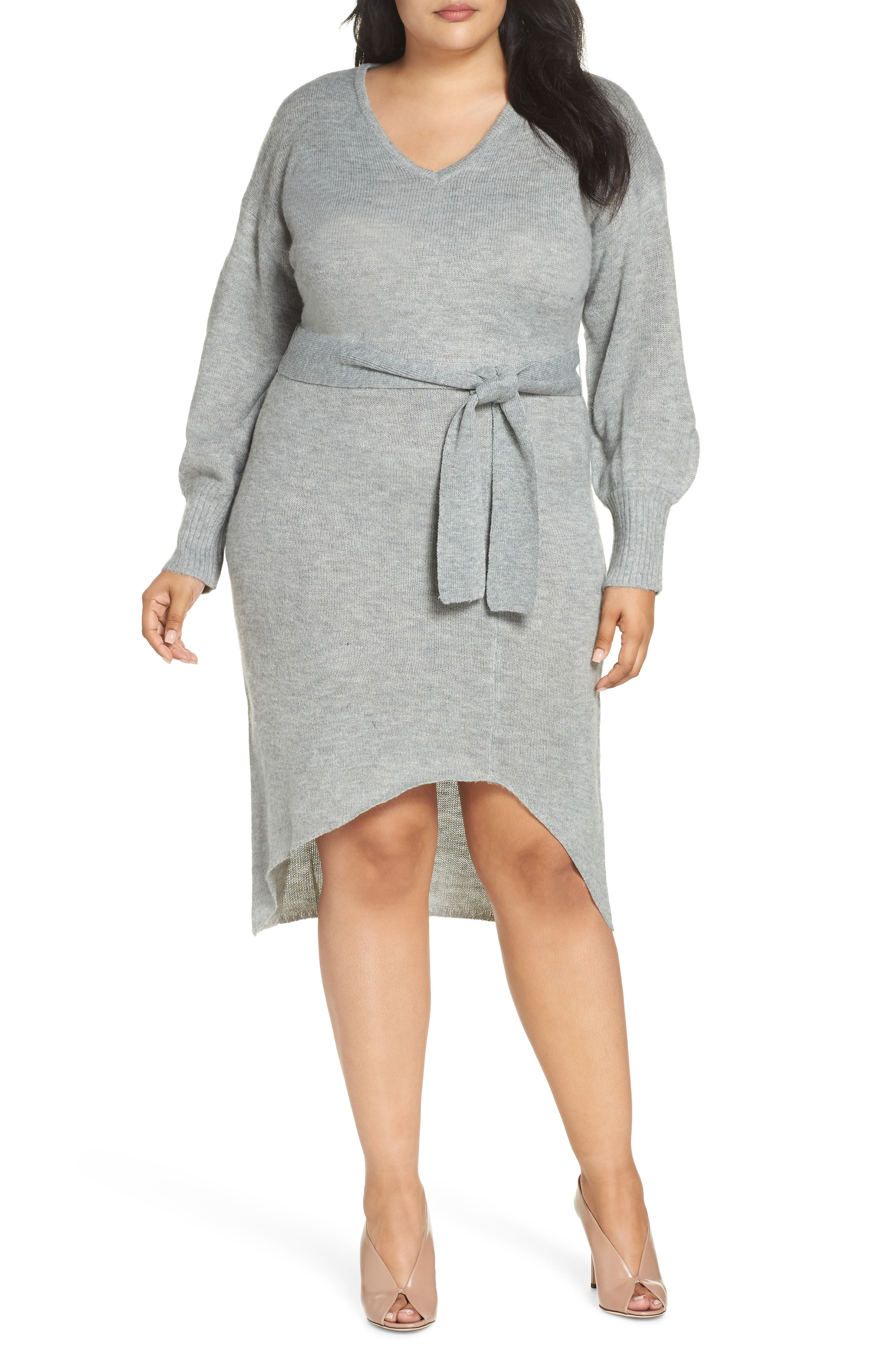 Belted Sweater Dress,                             Main thumbnail 1, color,                             GREY