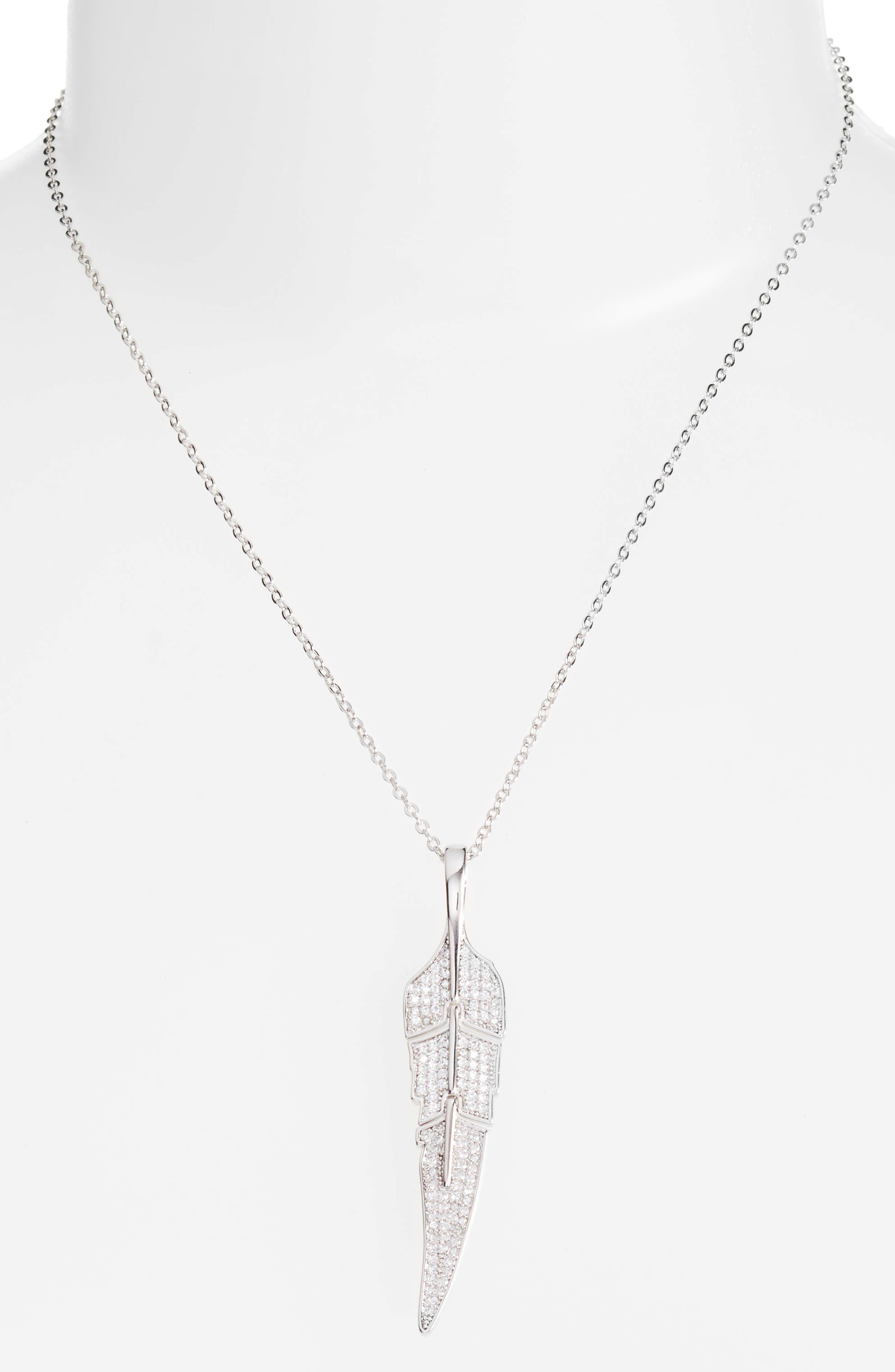 Feather Pendant Necklace,                             Main thumbnail 1, color,                             040