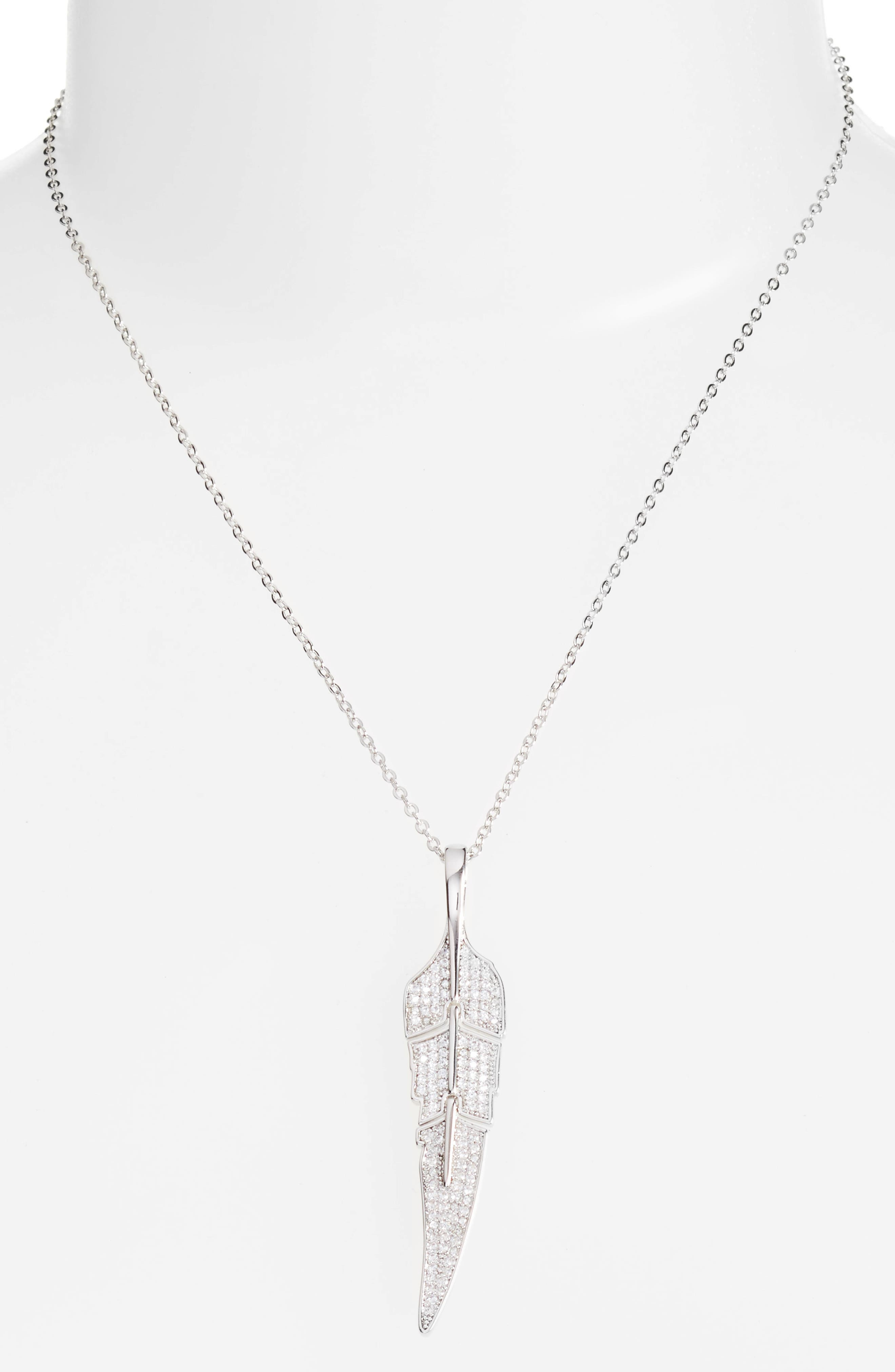 Feather Pendant Necklace,                         Main,                         color, 040