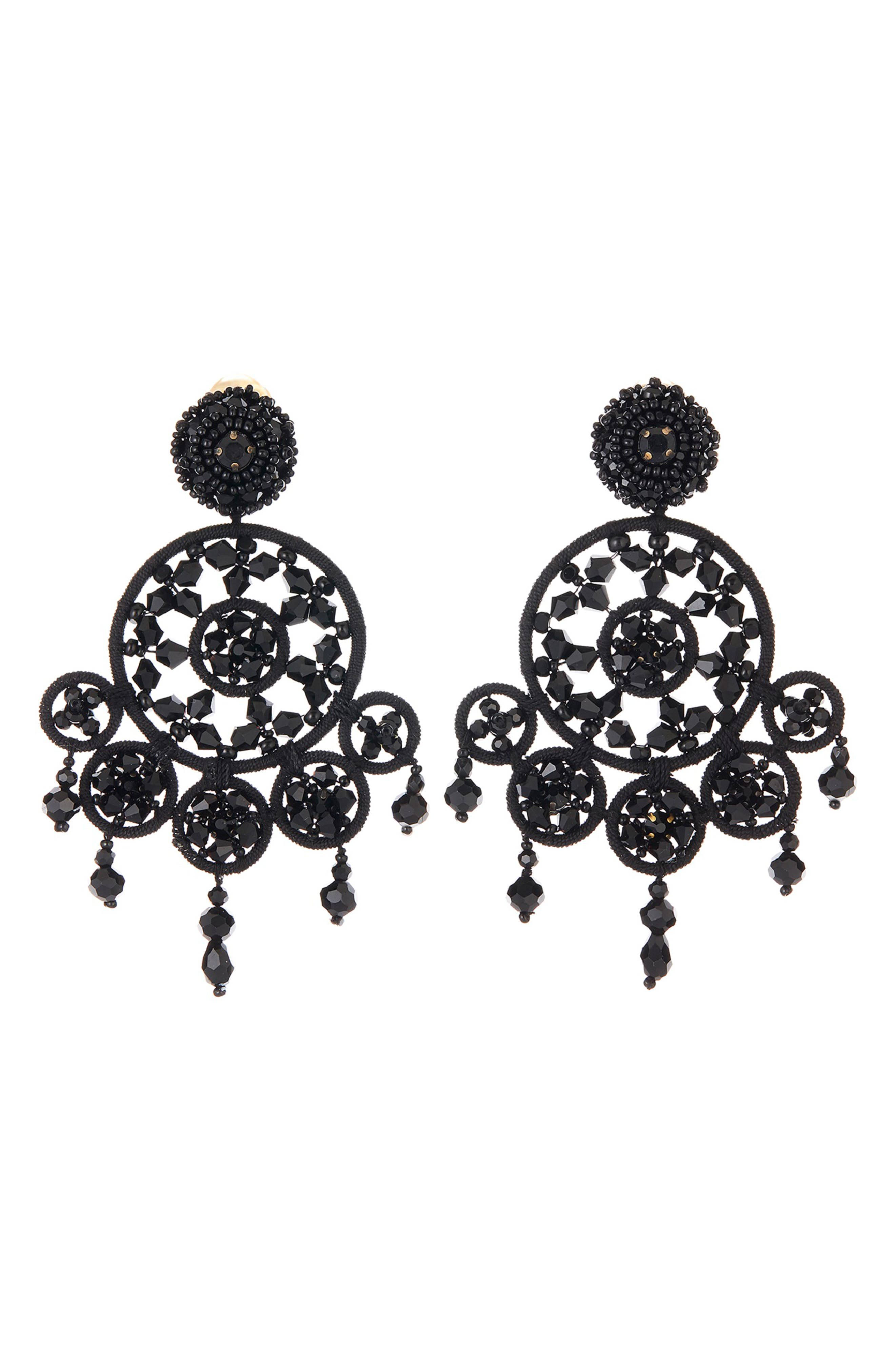 Beaded Statement Clip Earrings, Main, color, BLACK