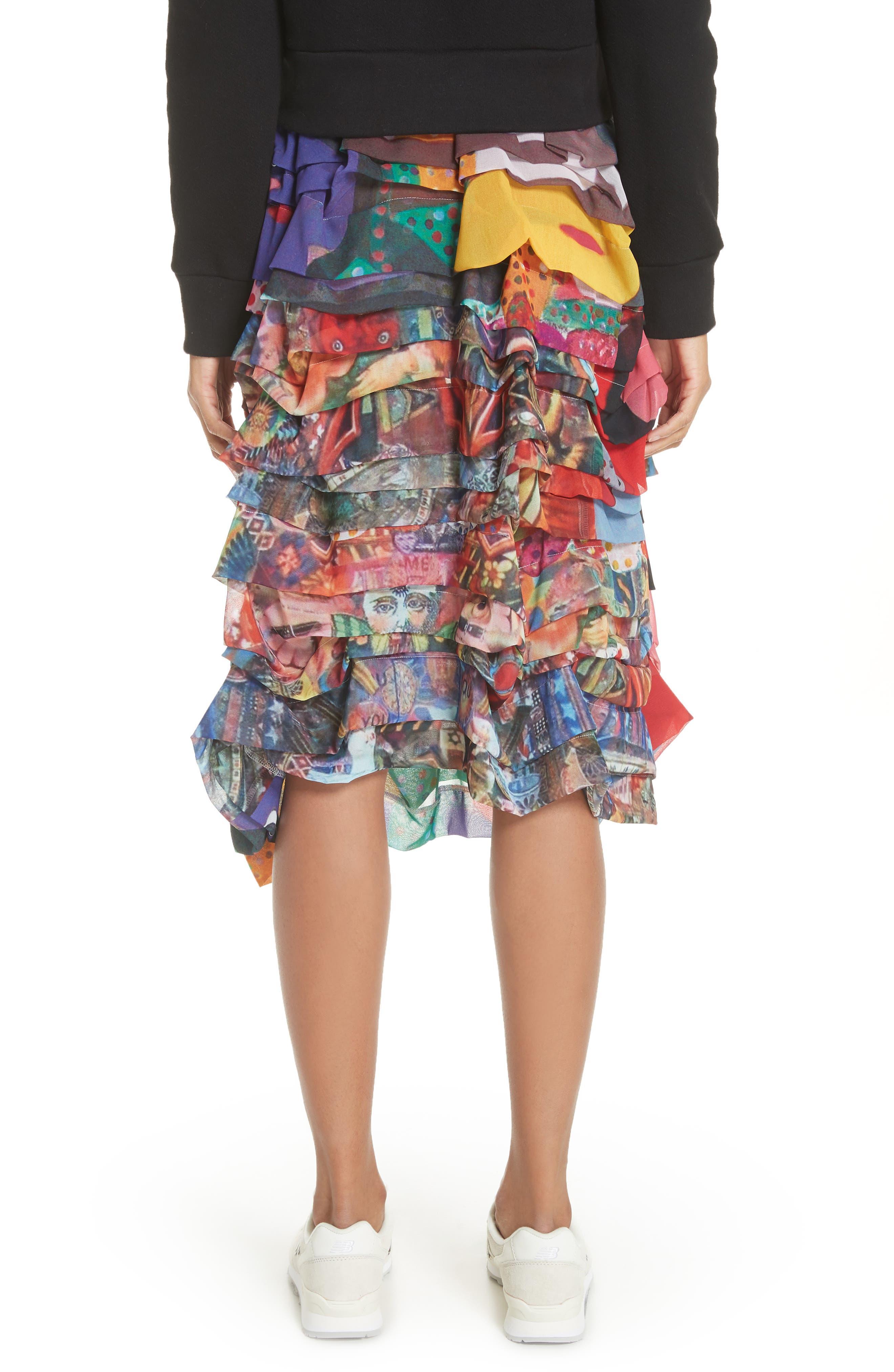 Print Tiered Skirt,                             Alternate thumbnail 2, color,