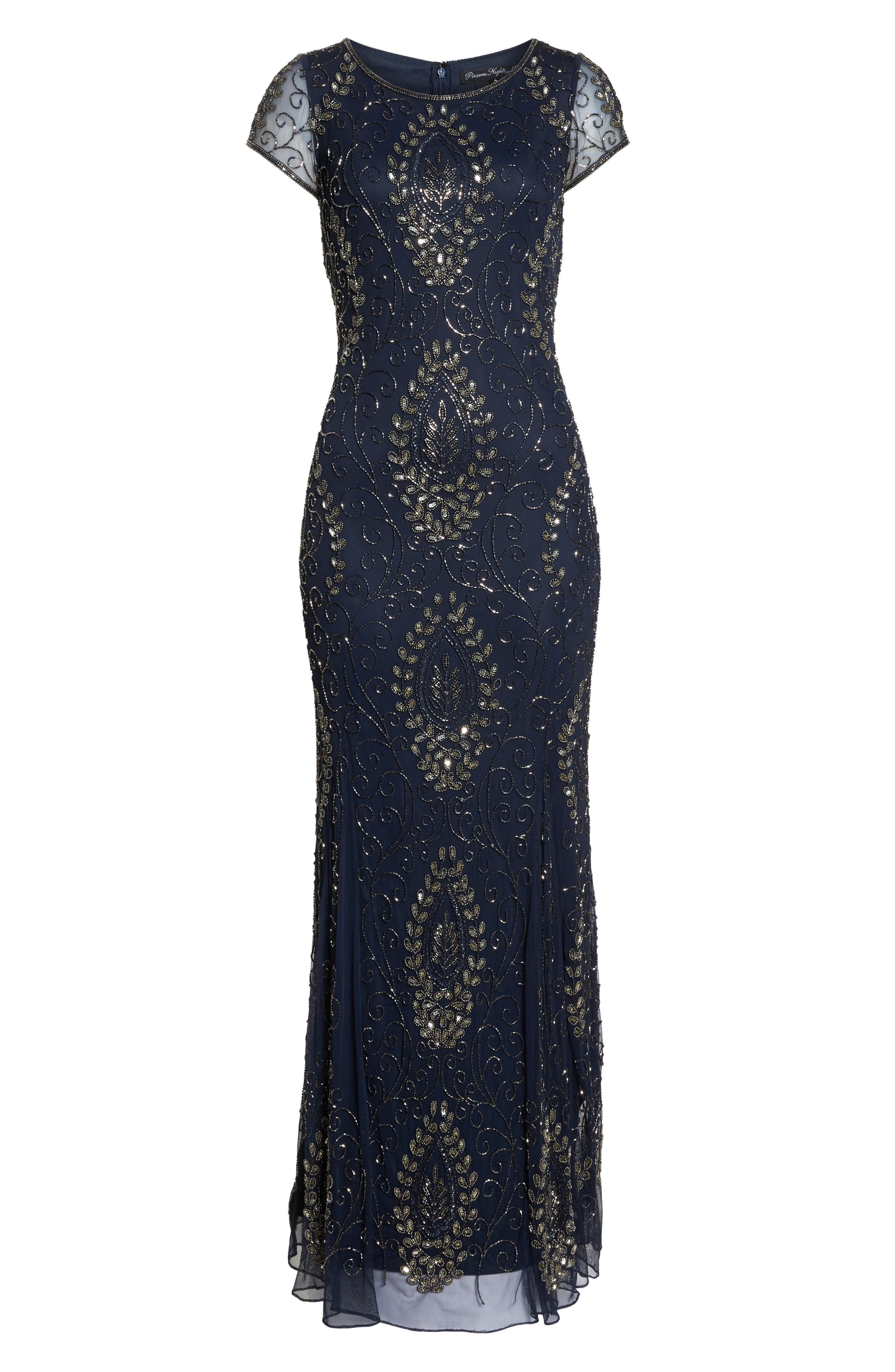 Embellished Mesh Gown,                             Alternate thumbnail 7, color,                             410