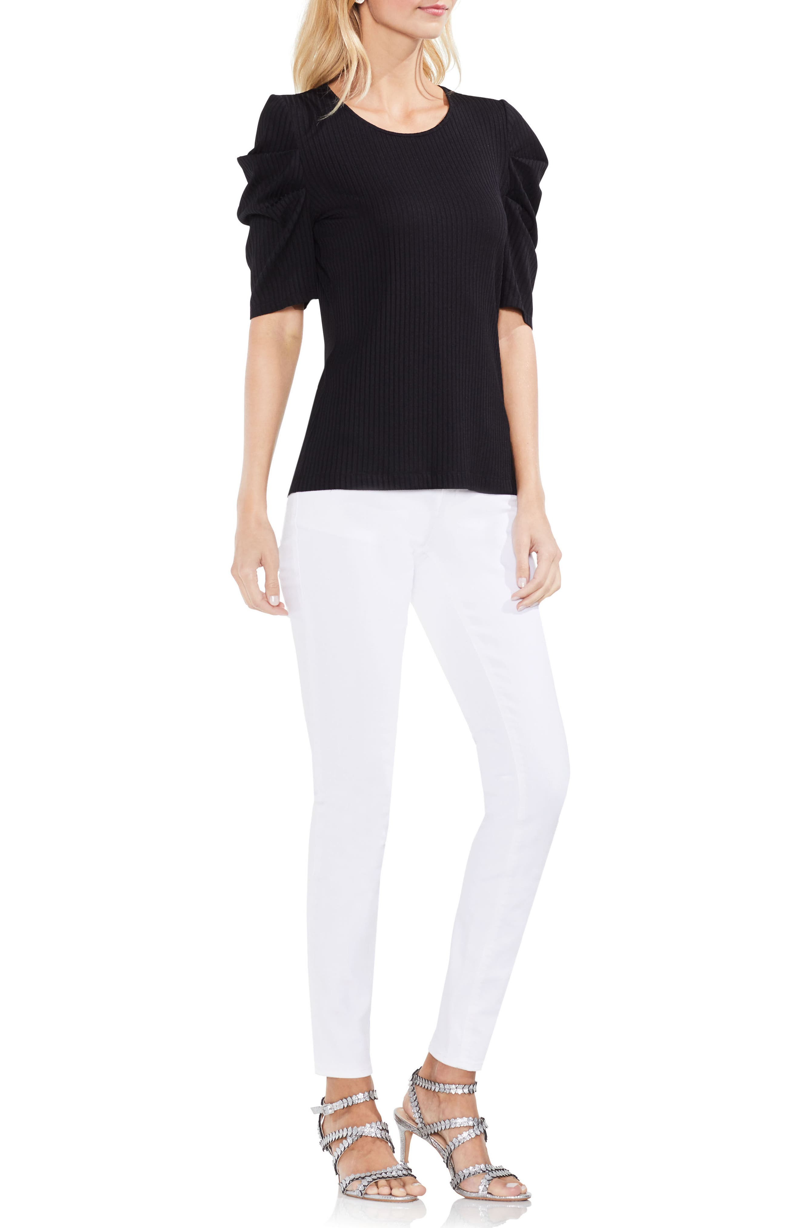 Draped Sleeve Ribbed Tee,                             Alternate thumbnail 13, color,