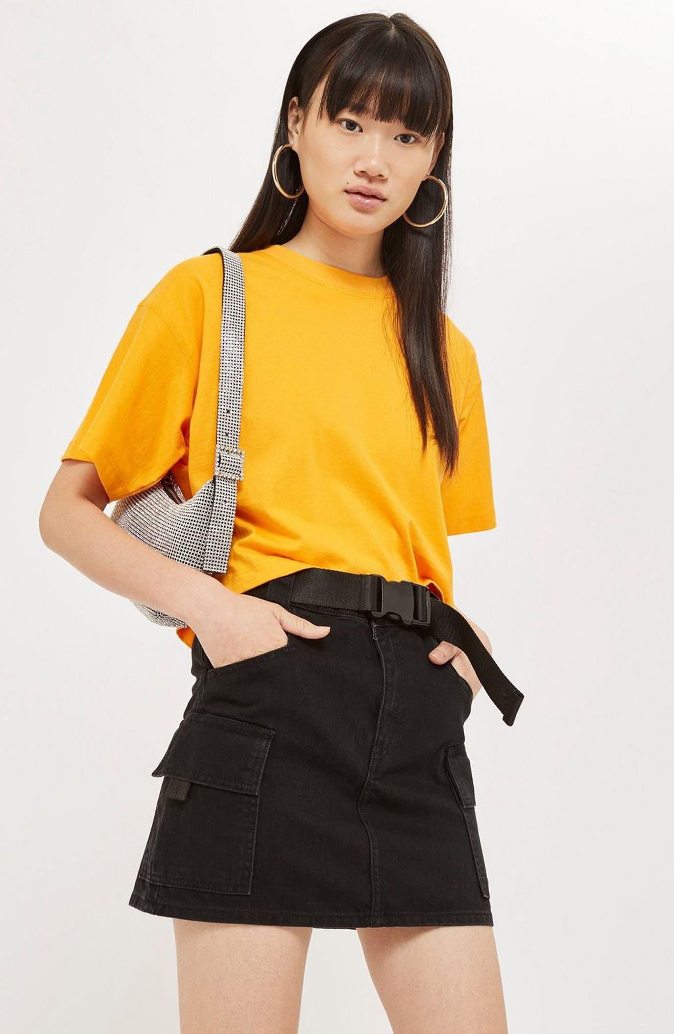 Clip Belt Skirt,                             Alternate thumbnail 5, color,                             BLACK