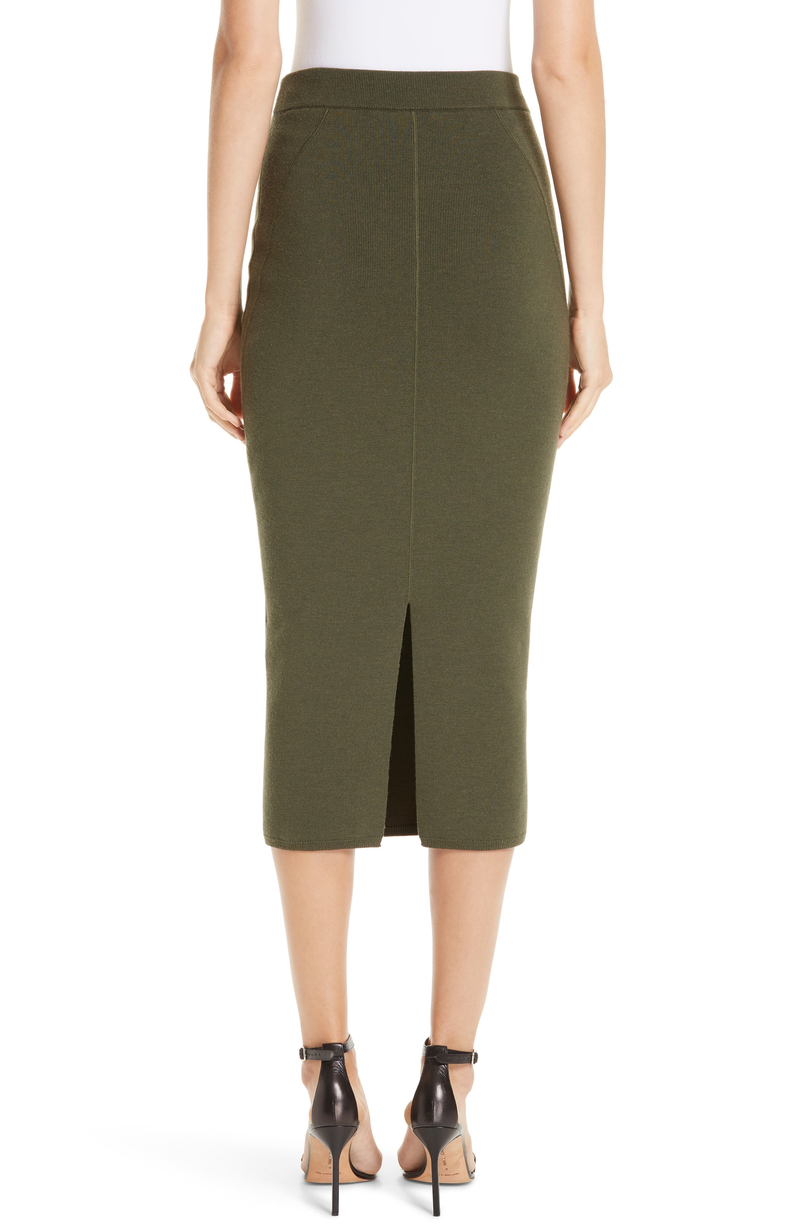 Fitted Knit Skirt,                             Alternate thumbnail 2, color,                             GREEN