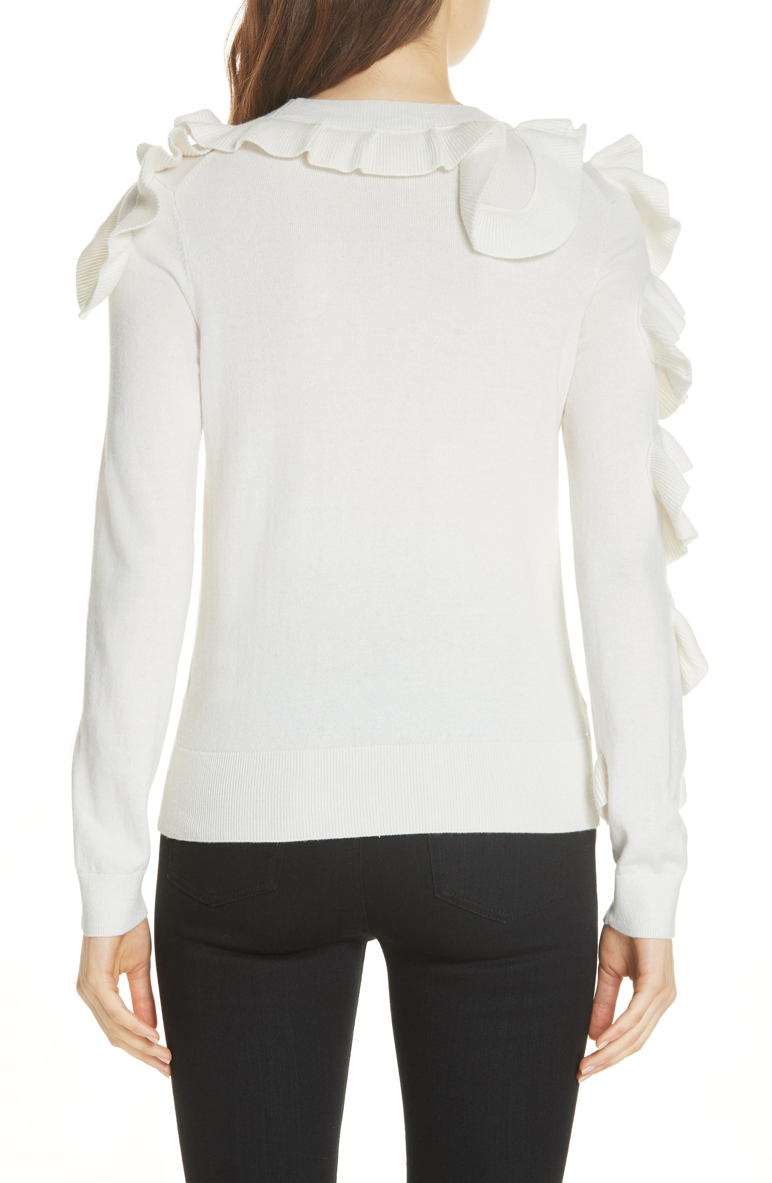 Pallege Frill Sleeve Wool Blend Sweater,                             Alternate thumbnail 2, color,                             905
