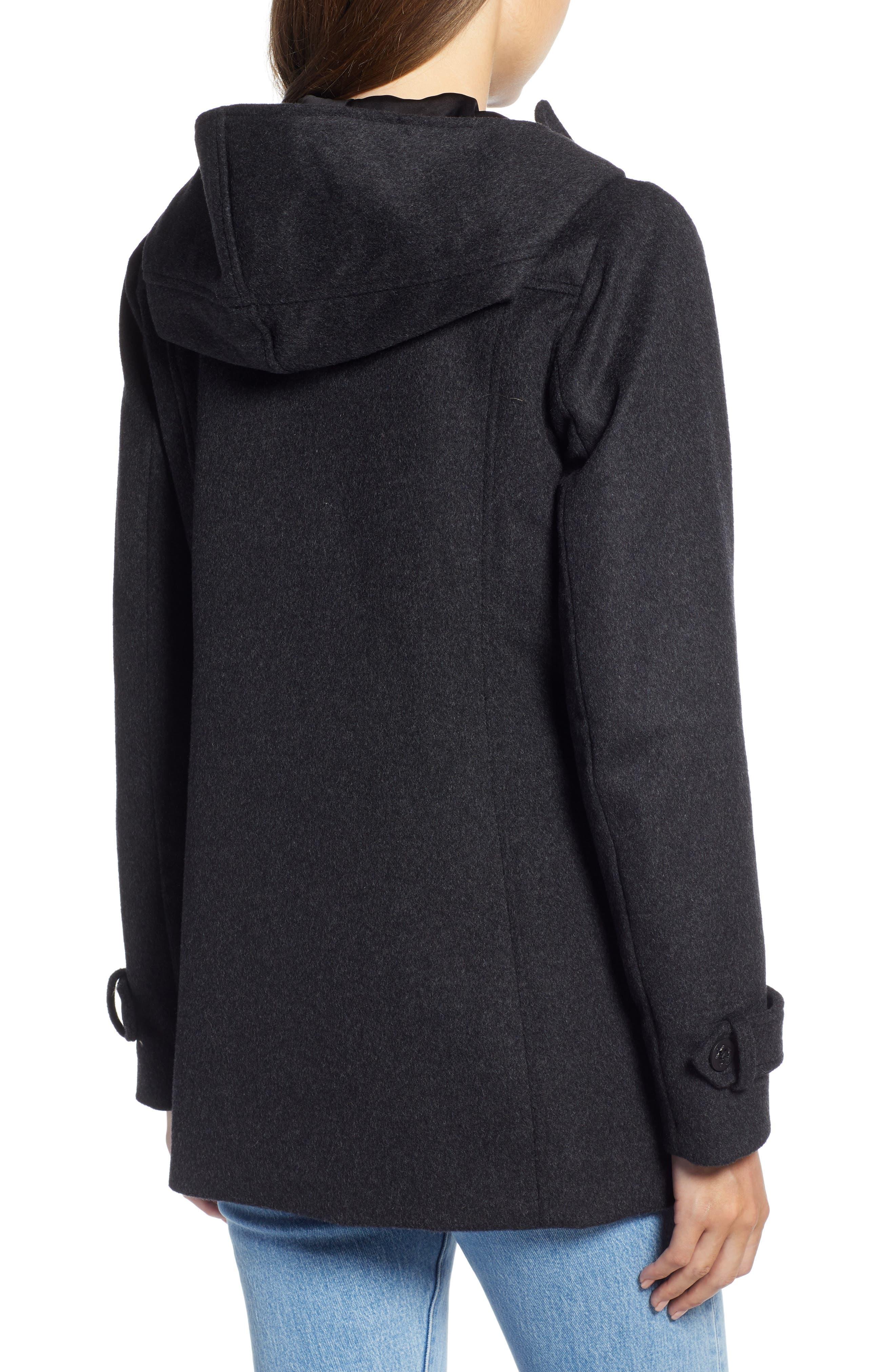 Roslyn Waterproof Lambswool Blend Hooded Coat,                             Alternate thumbnail 2, color,                             CHARCOAL
