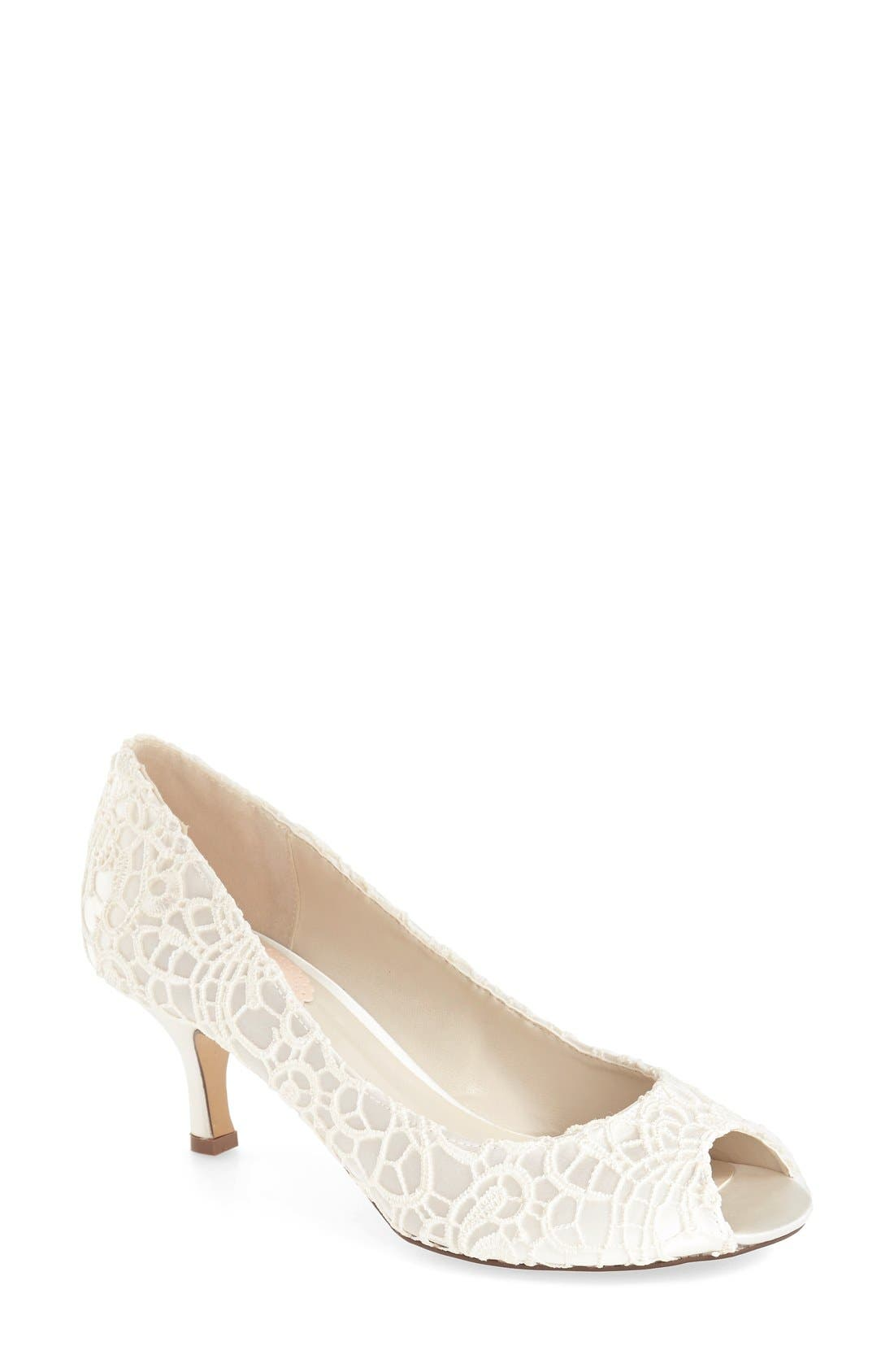 'Emotion' Peep Toe Pump,                             Main thumbnail 1, color,                             IVORY