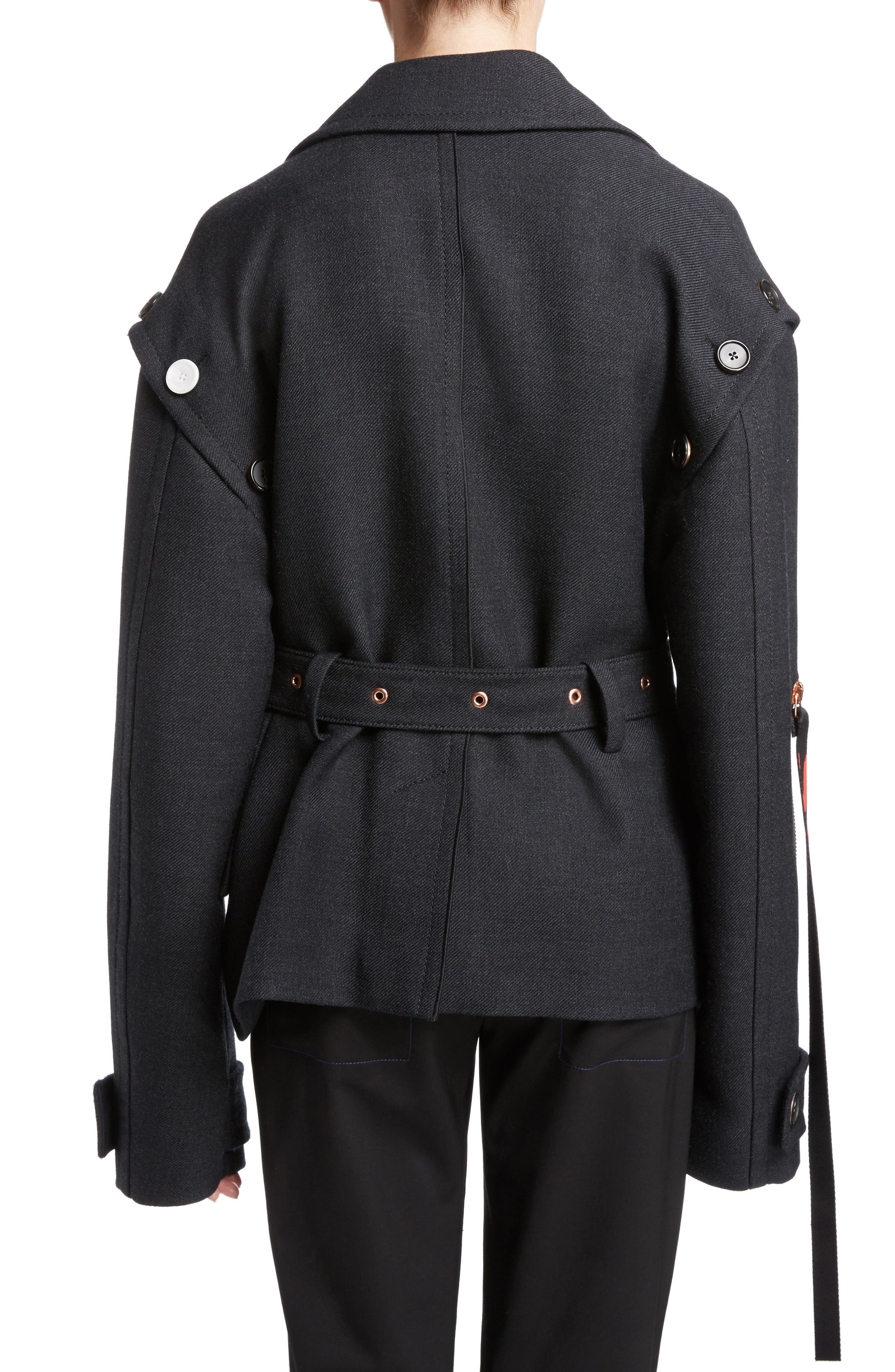 Stretch Wool Asymmetrical Coat,                             Alternate thumbnail 2, color,                             042