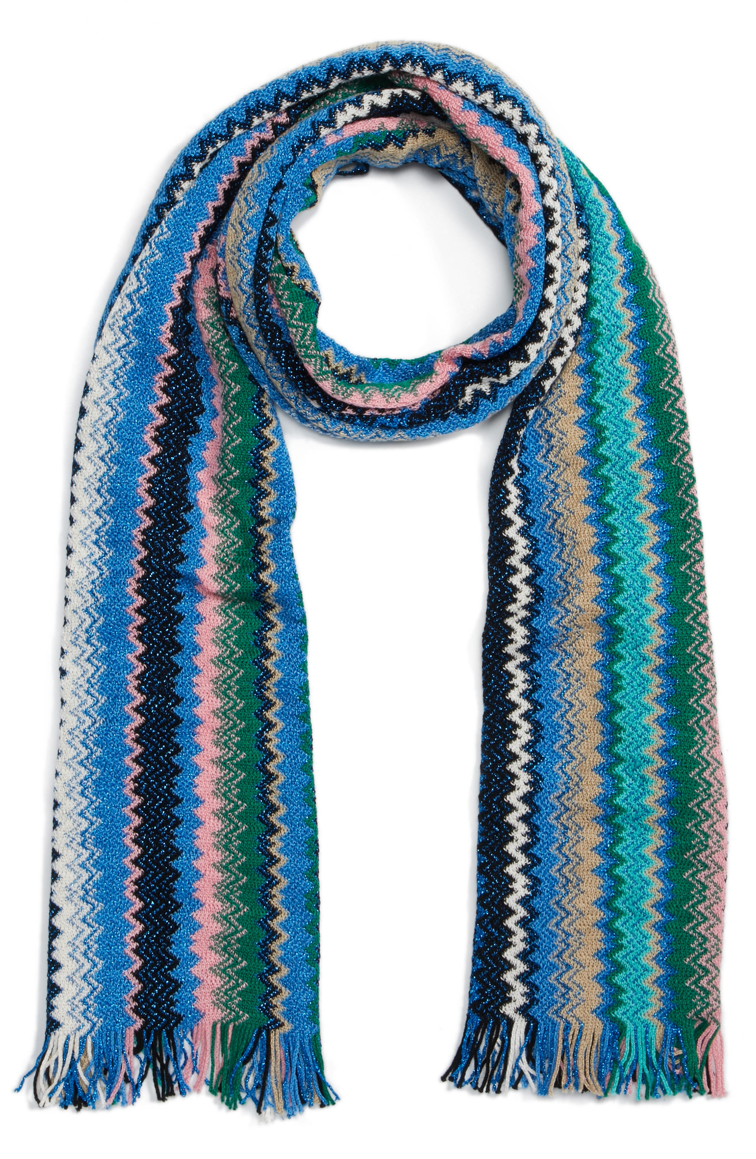 Zigzag Scarf,                             Alternate thumbnail 3, color,                             BLUE