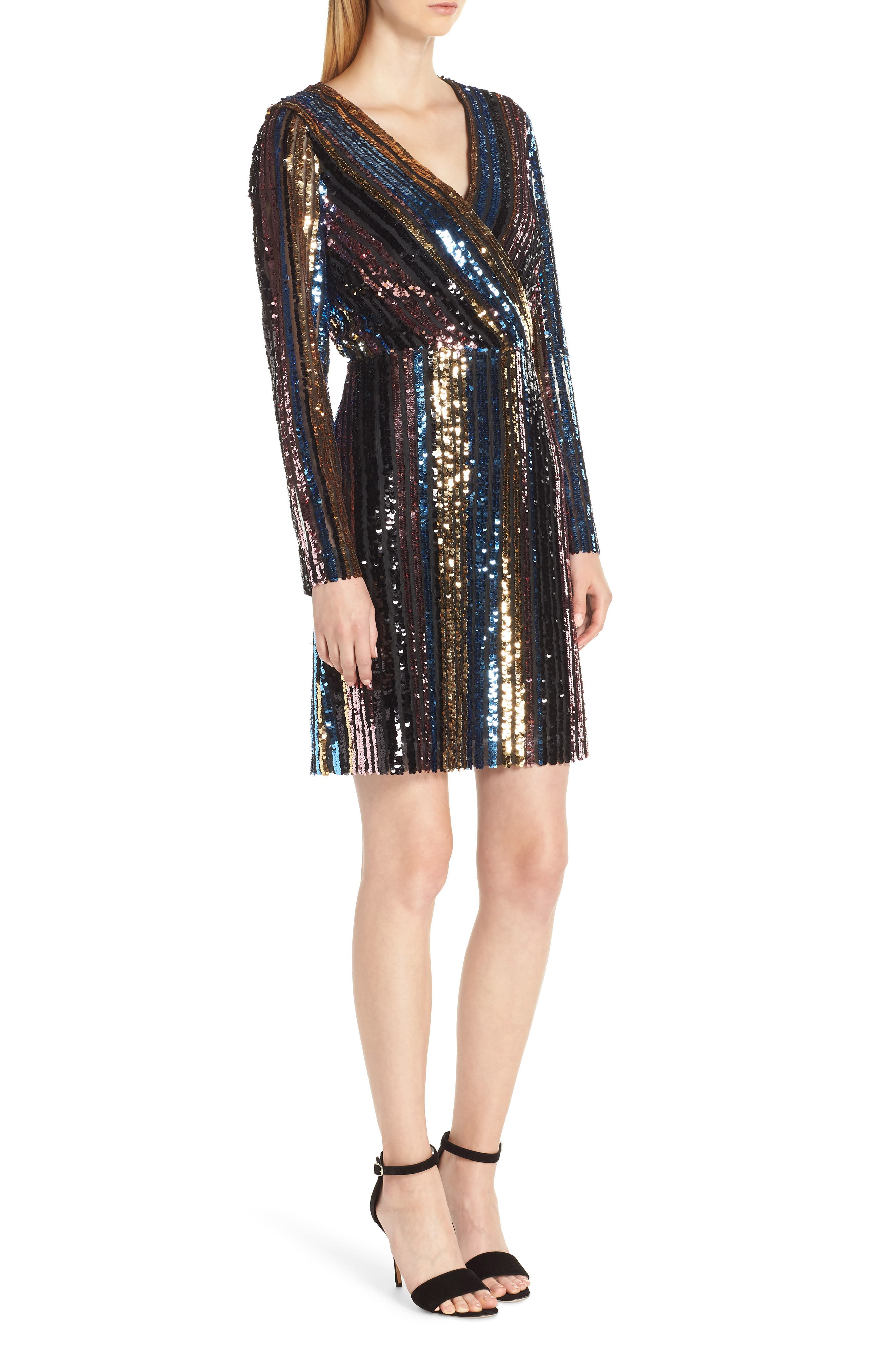 Sam Edleman Rainbow Stripe Sequin Wrap Front Dress,                             Alternate thumbnail 3, color,                             RAINBOW