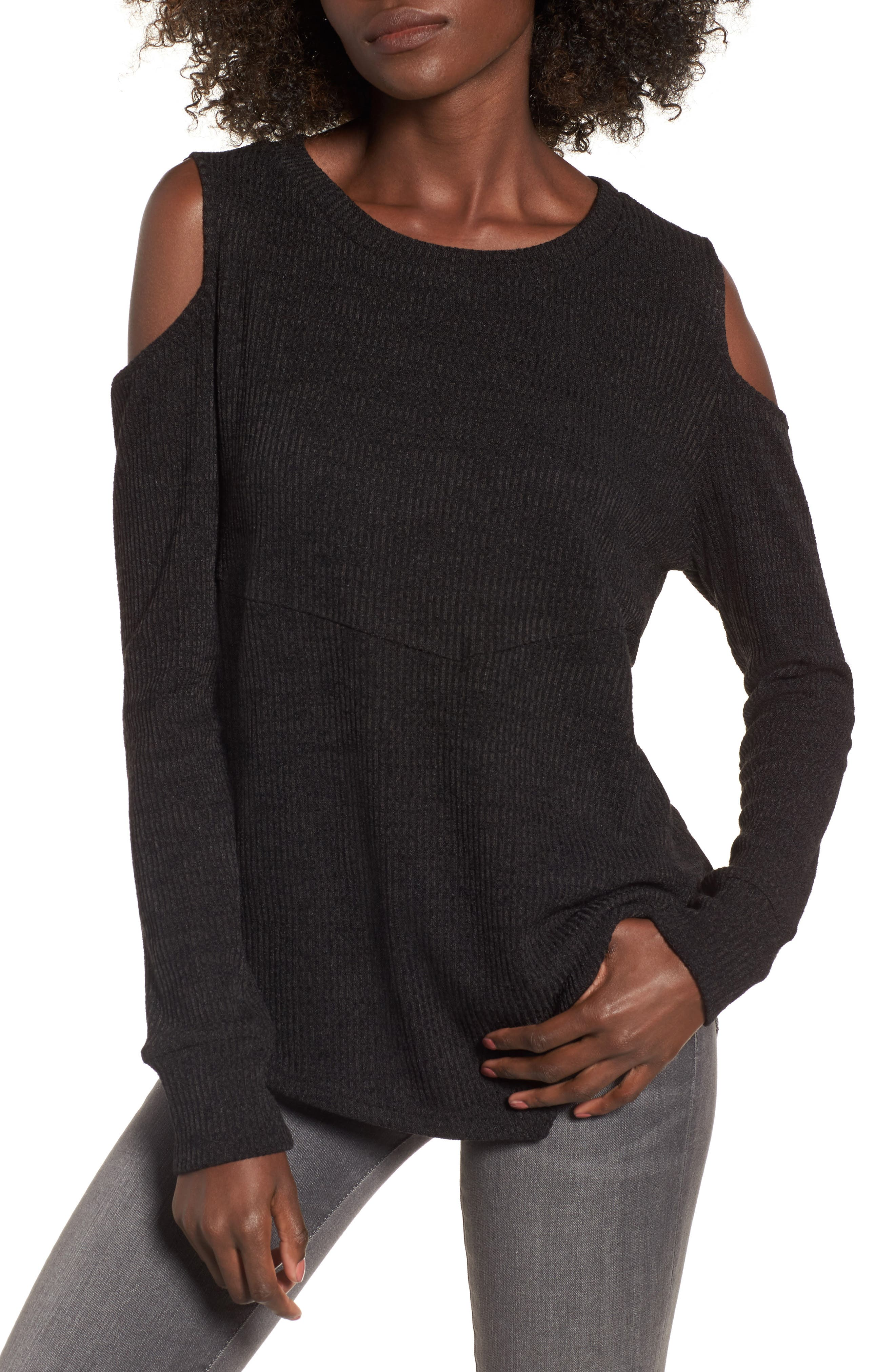 All Mine Cold Shoulder Thermal Top,                             Main thumbnail 1, color,                             001