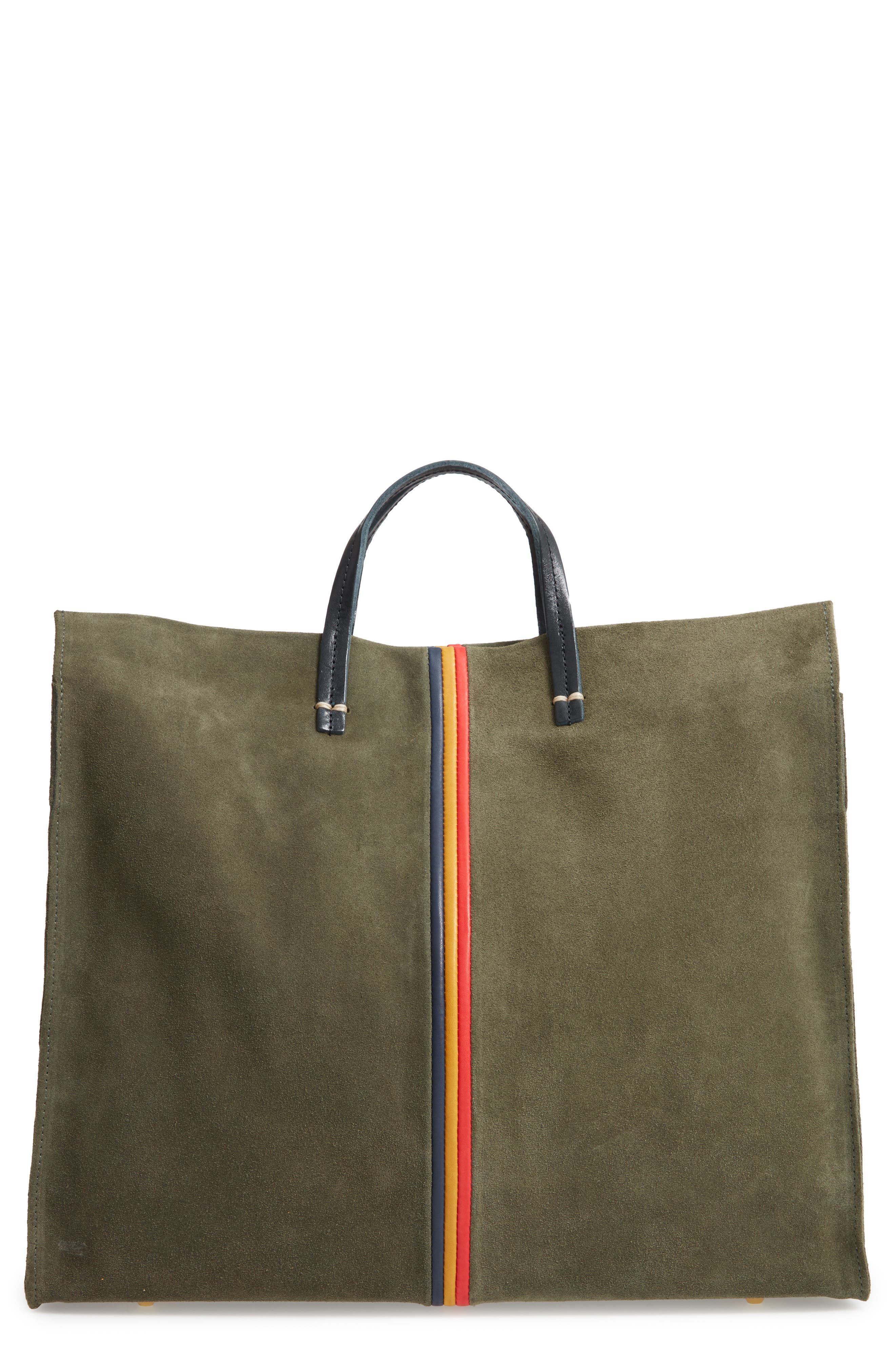 Simple Stripe Nubuck Tote,                             Main thumbnail 1, color,                             ARMY SUEDE STRIPE