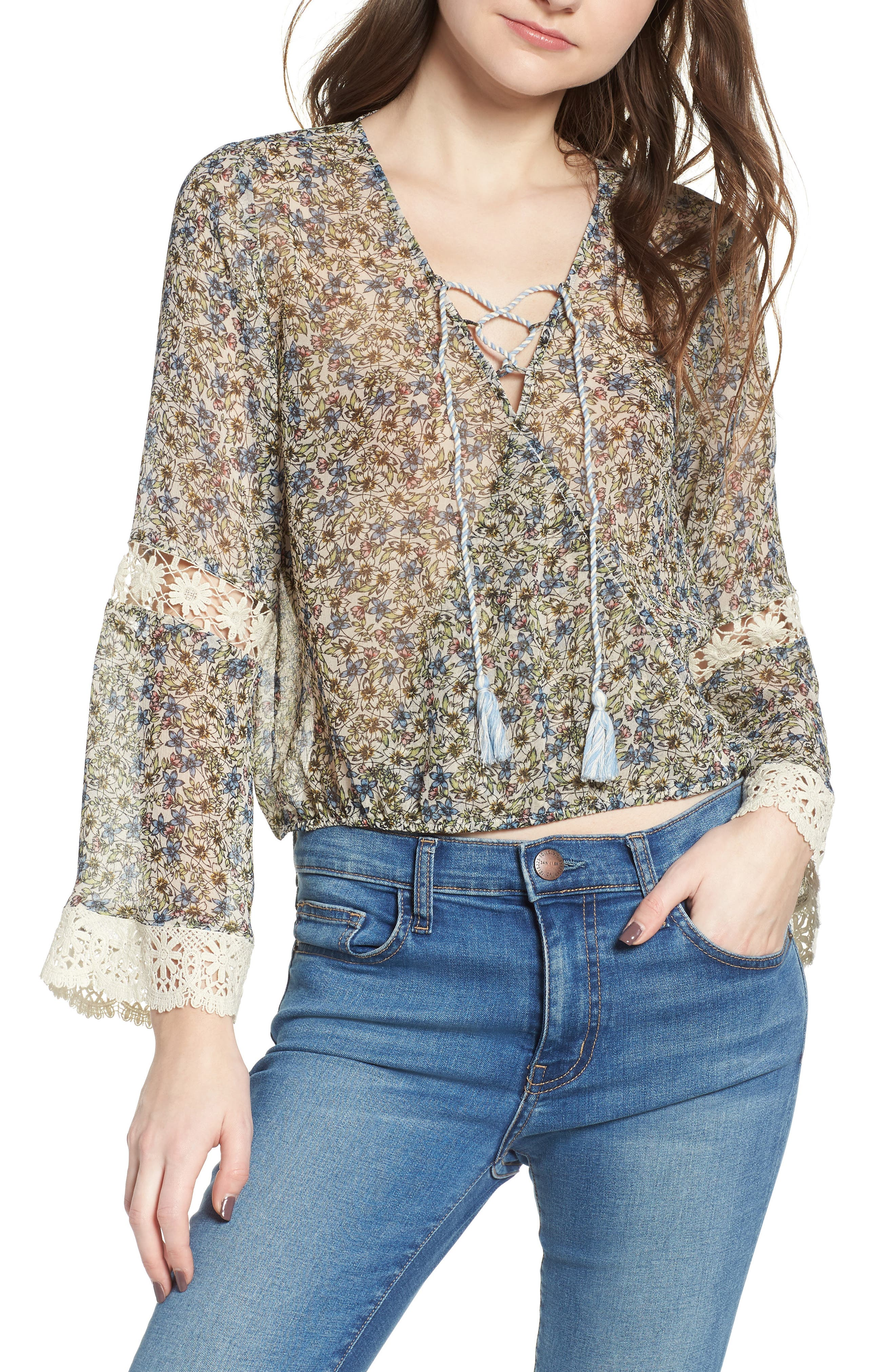 Zilla Floral Blouse,                         Main,                         color, OATMEAL