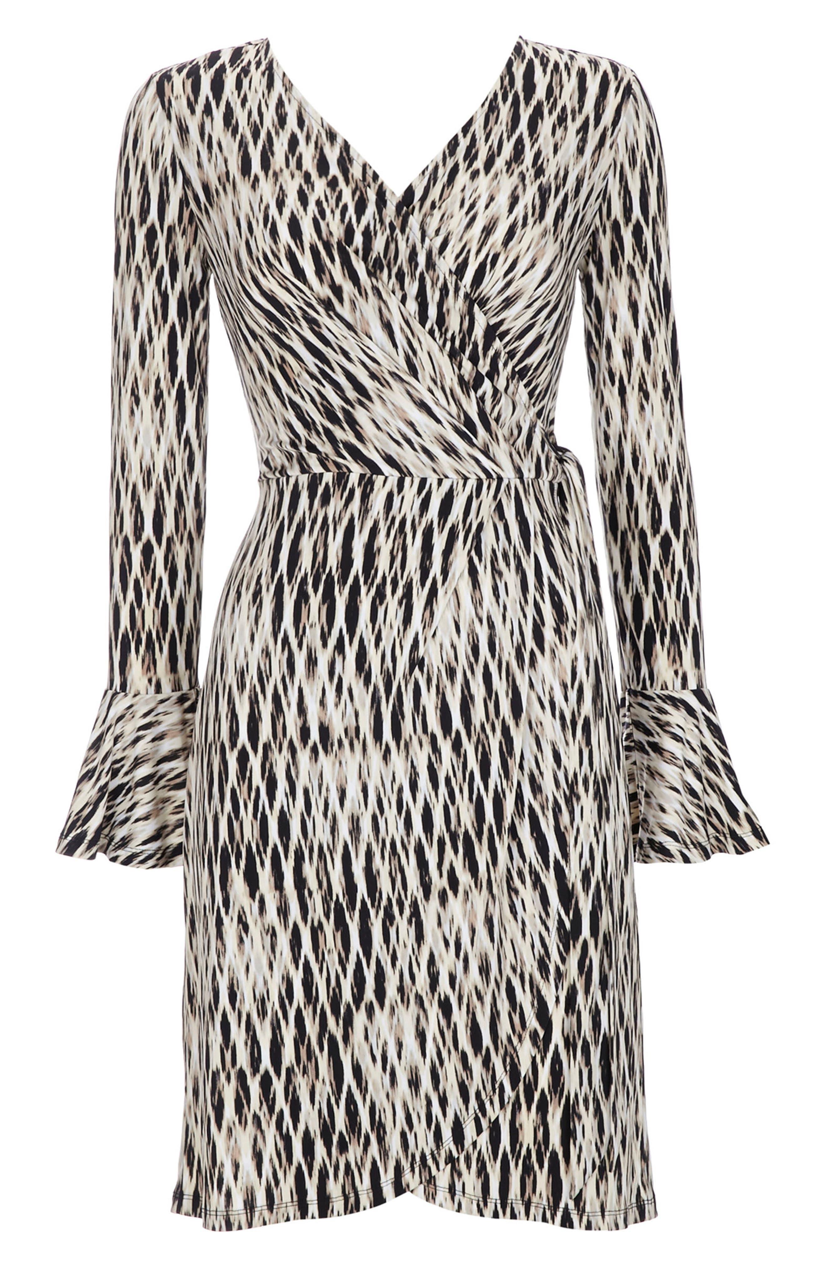 Geo Print Bell Sleeve Wrap Dress,                             Alternate thumbnail 5, color,                             001